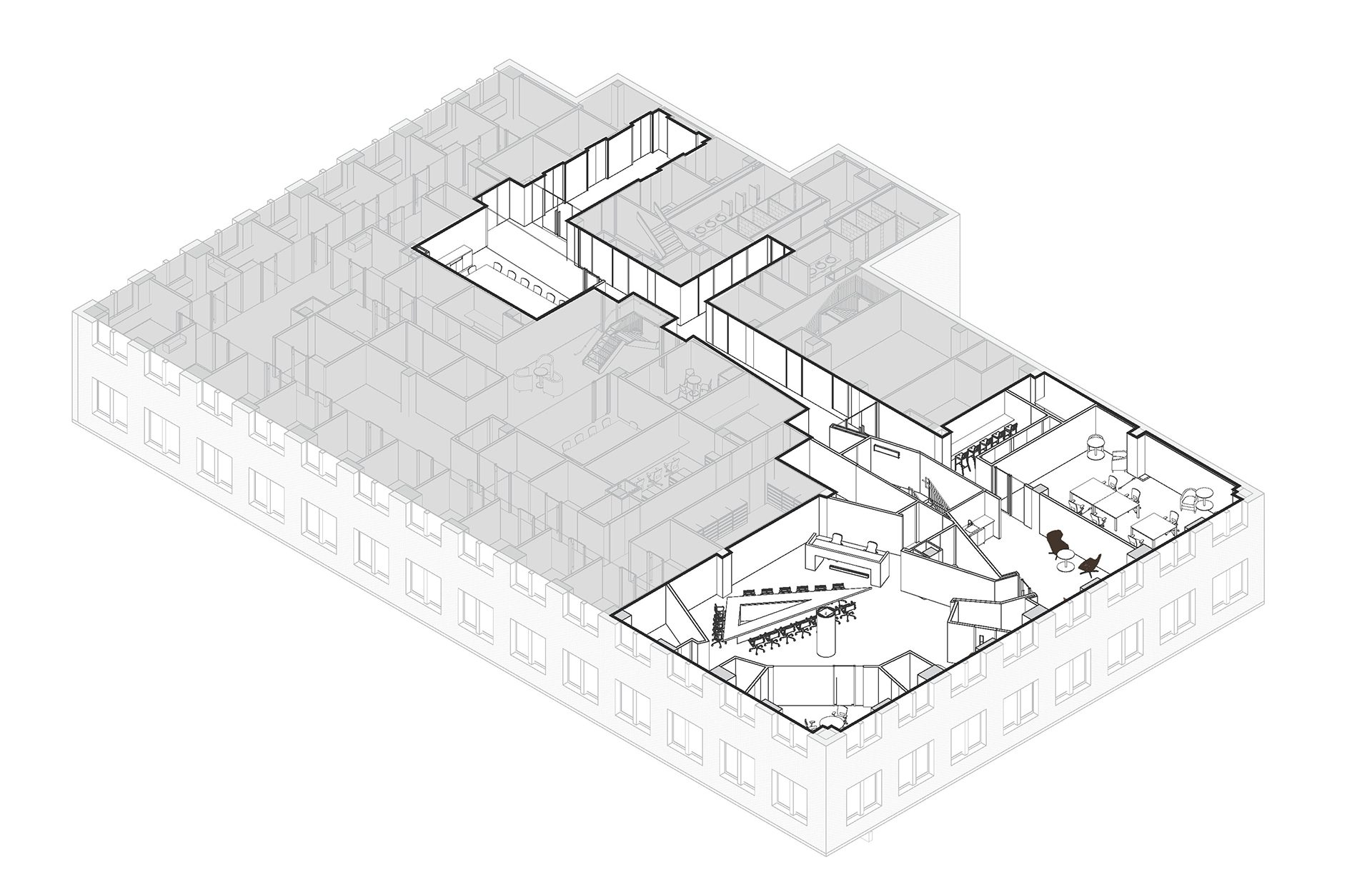 Axonometric floorplan of the new KPMG Ignition, Innovation, and Insights Center