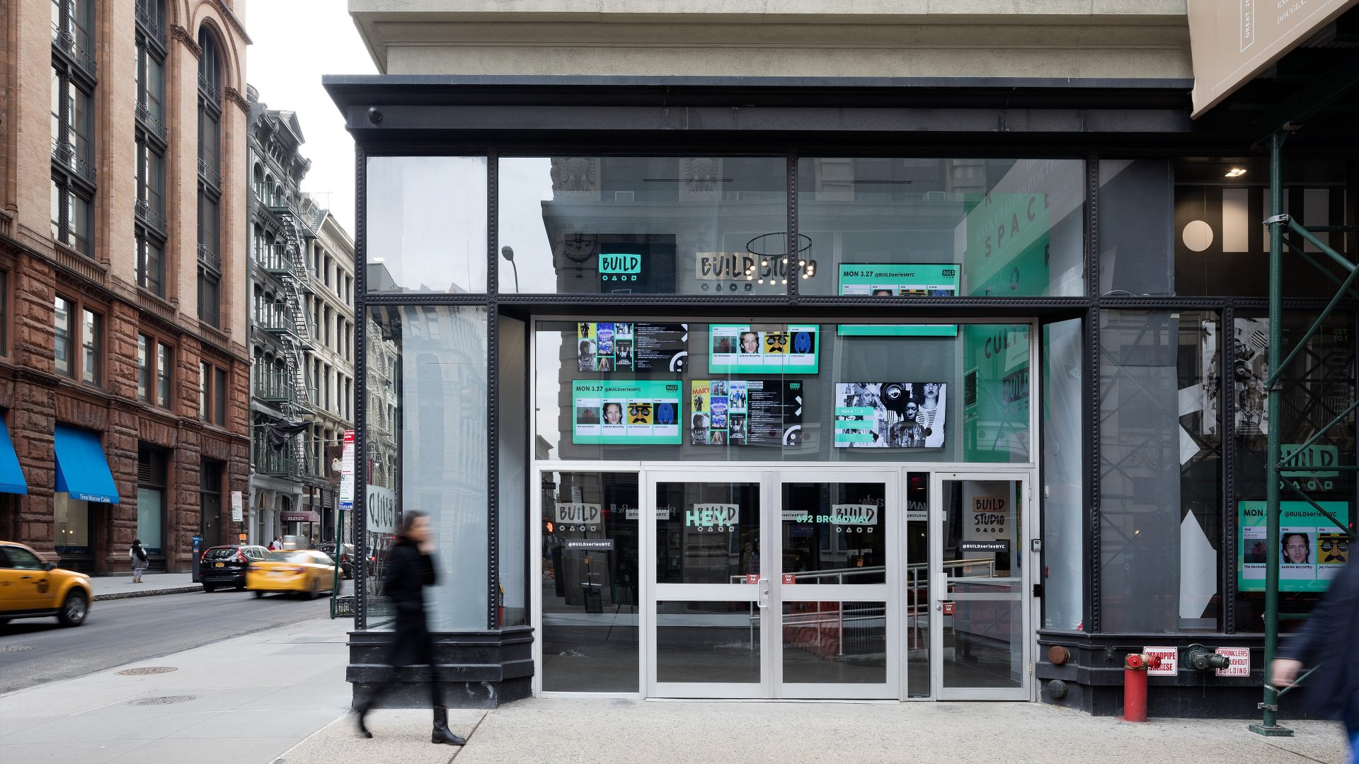 Storefront and street presence of the new BUILD Studio at 692 Broadway