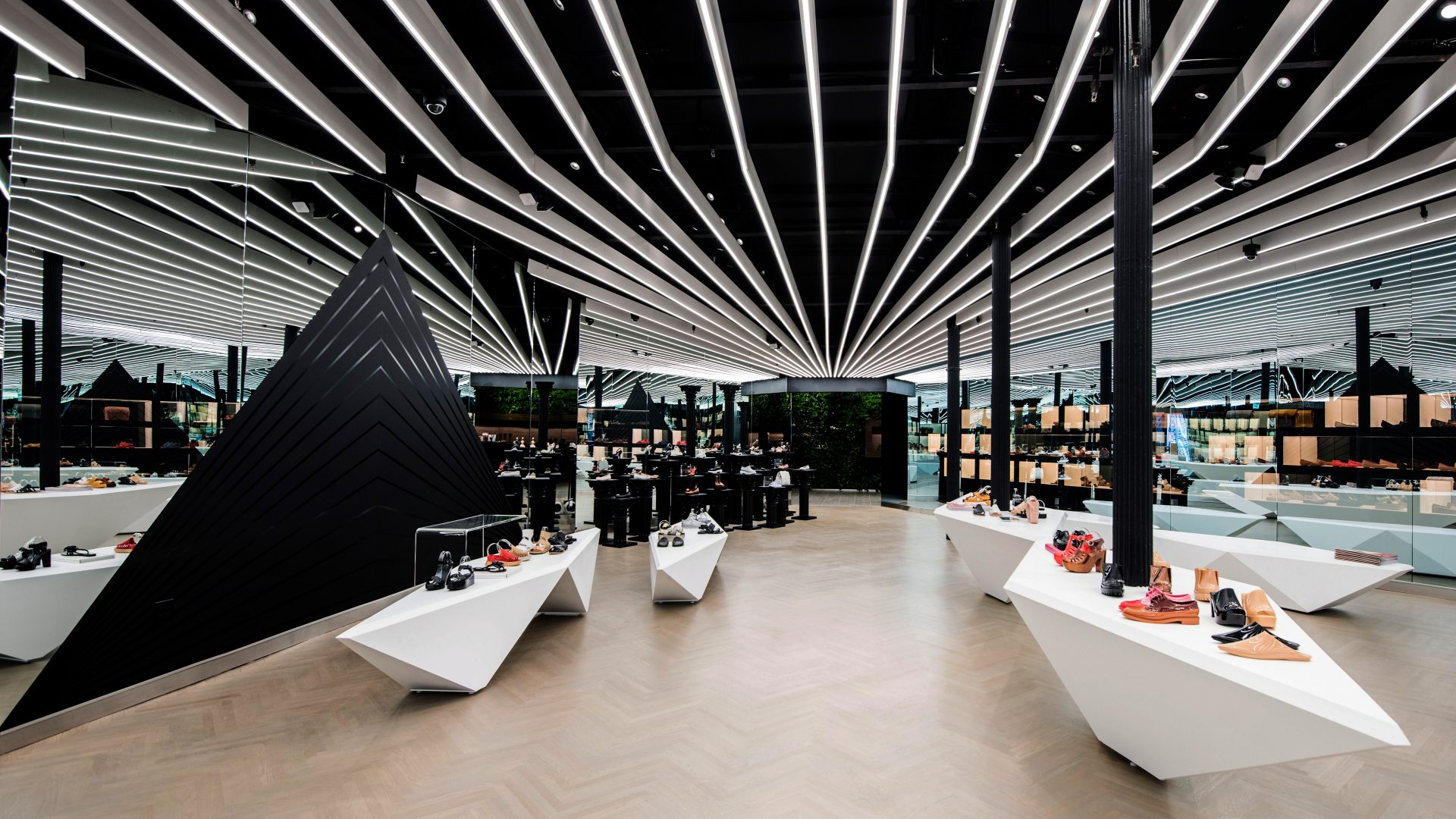 Product displays within the experiential retail space at Galeria Melissa