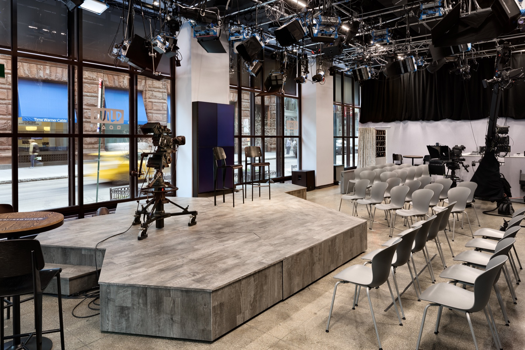 Broadcast and performance space at BUILD Studio