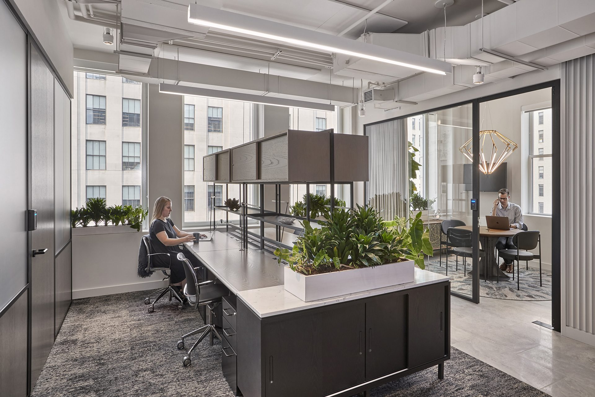 Coworking desks at The Assemblage Park Avenue House