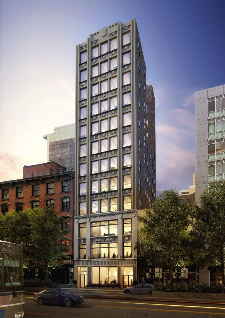 331 Park Avenue South exterior rendering illustrating the renewed facade.