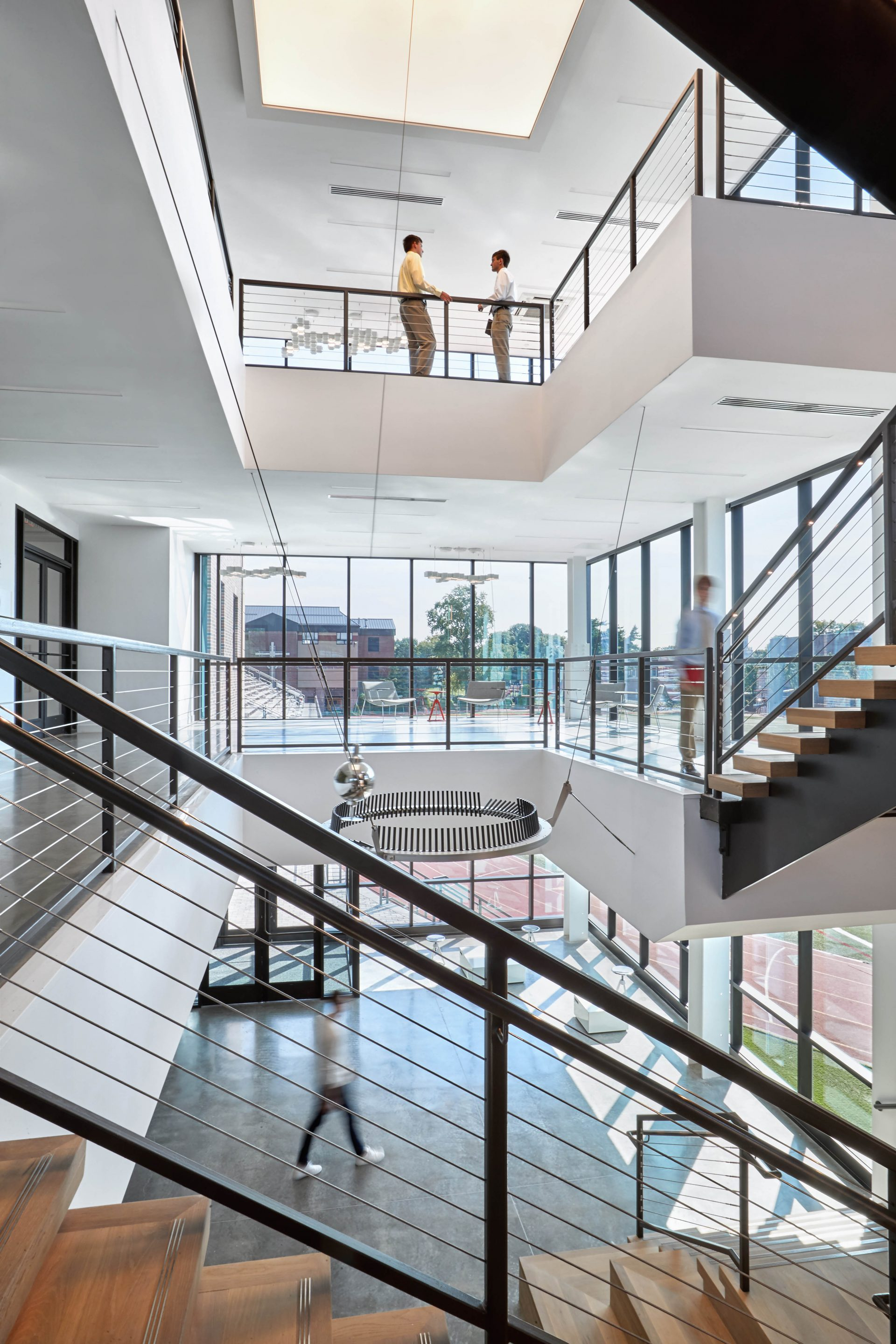 View across the three-story atrium at the new Dolan Family Science Center
