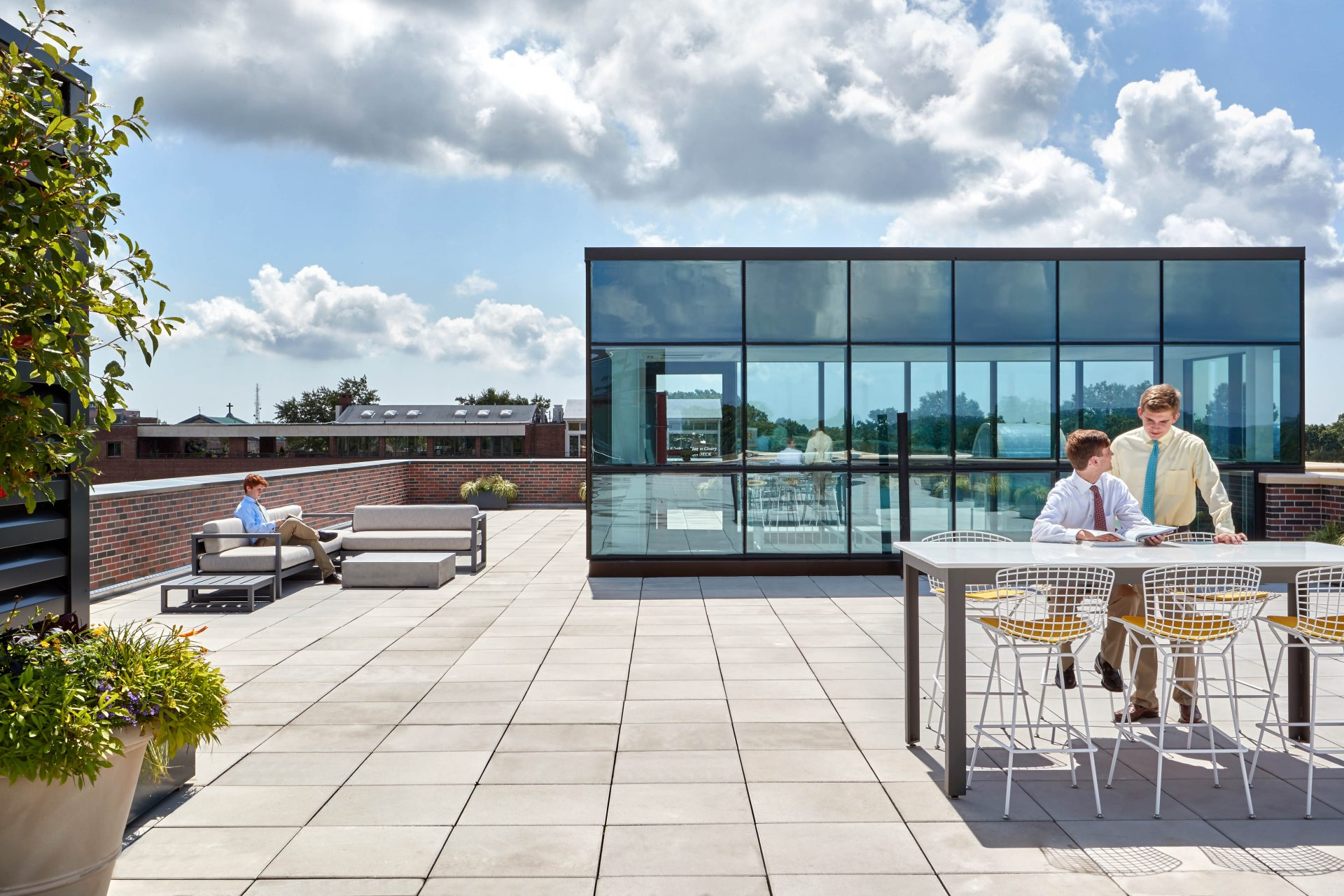 Rooftop event and gathering space atop the new Dolan Family Science Center at Chaminade High School