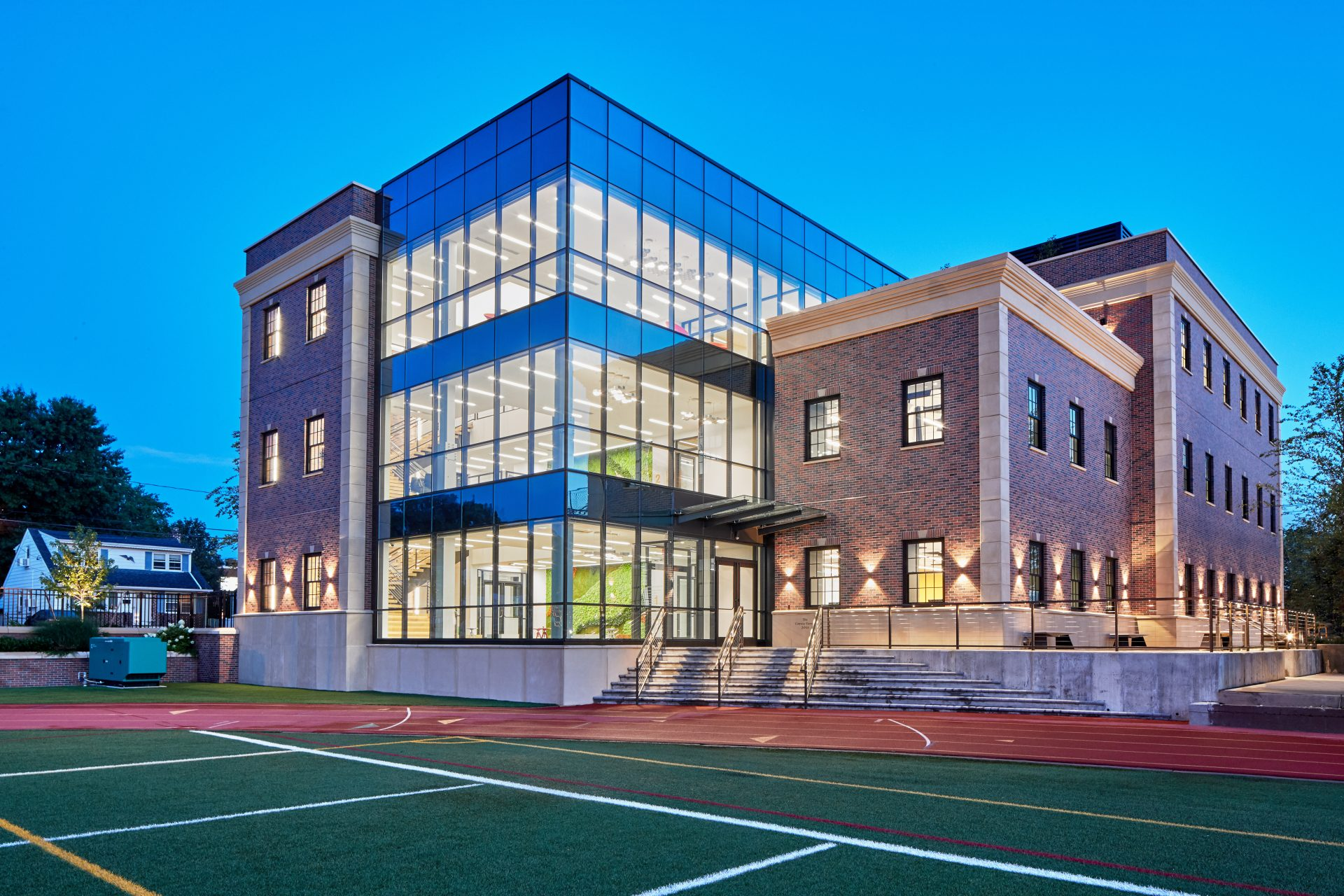 Rear view of the new Dolan Family Science Center from the campus football field