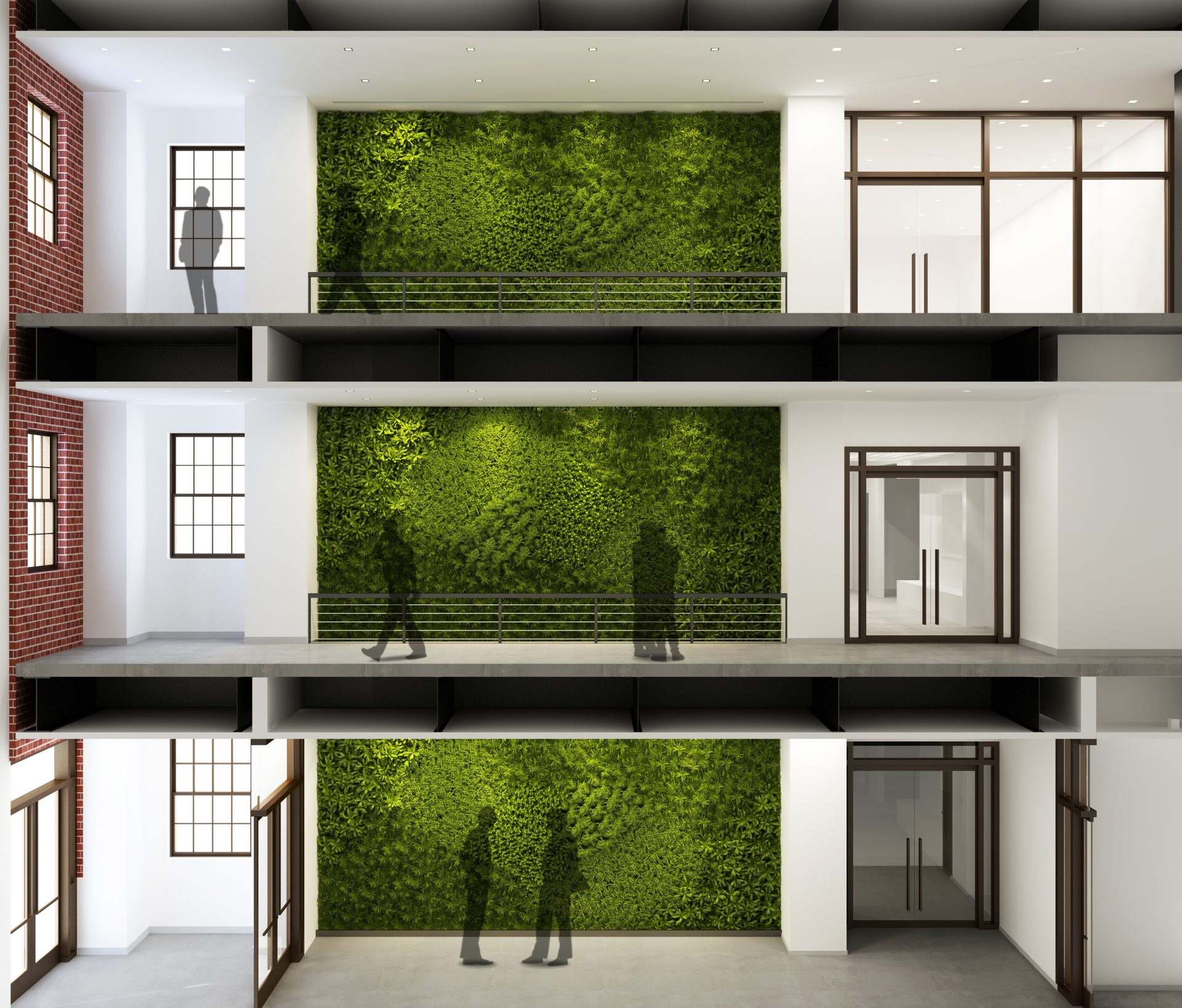 Rendering of the preserved living green wall in the three-story atrium at the Dolan Family Science Center