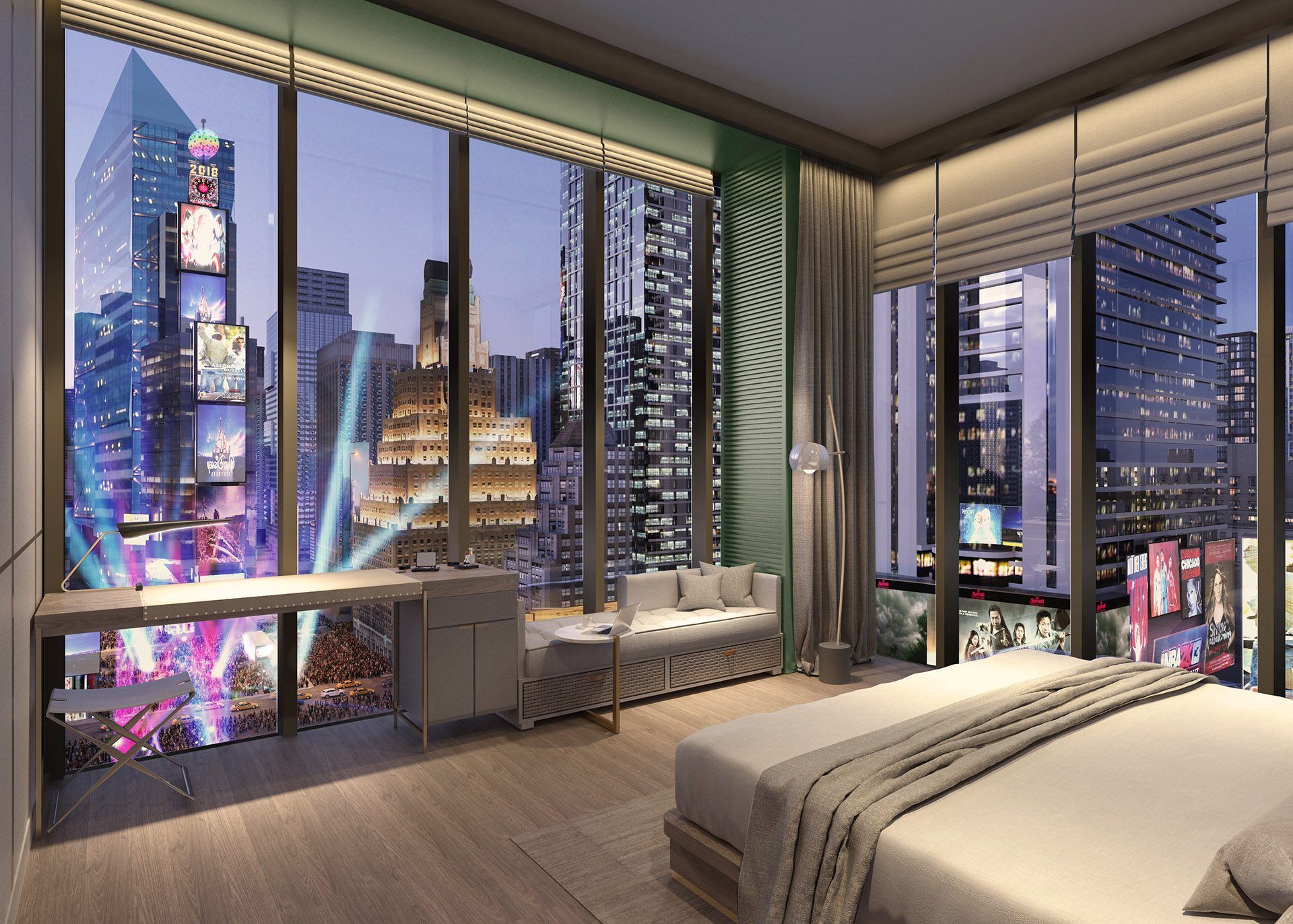 Hotel room rendering at the new TSX Broadway development