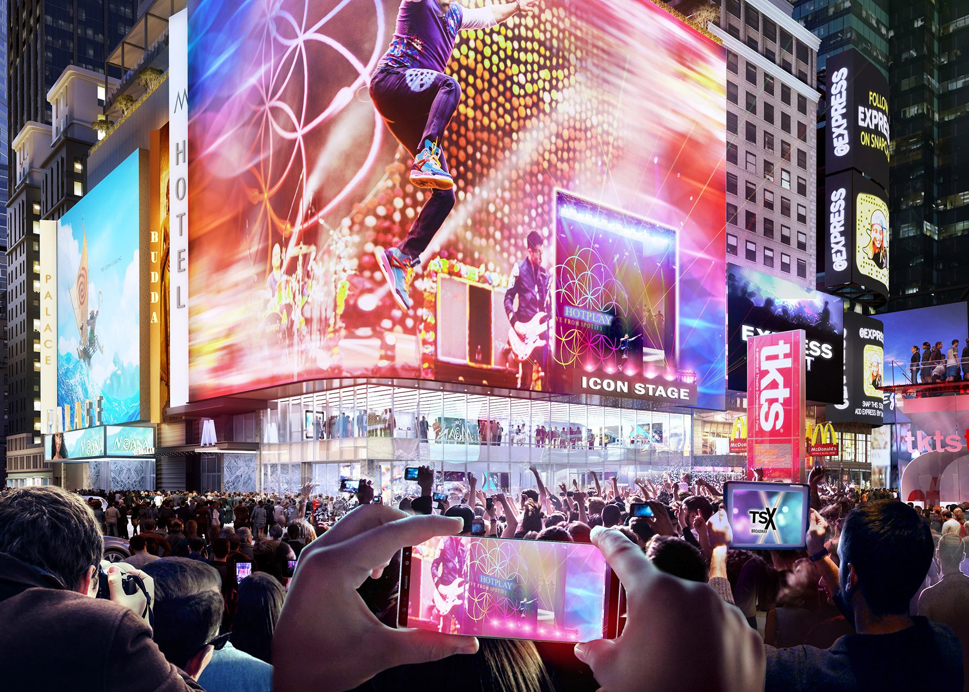 The new Icon Stage from the corner of 1568 Broadway