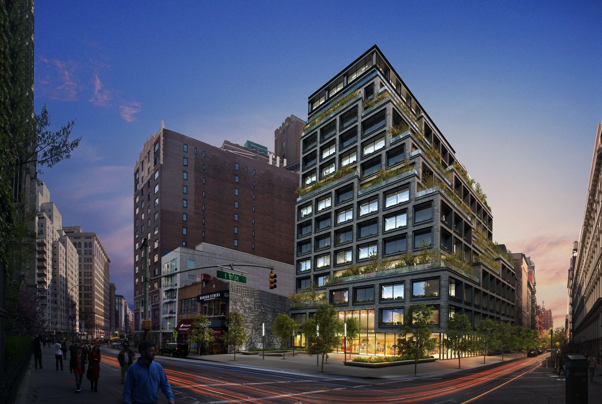 Nighttime rendering of the proposed Silicon Alley office building