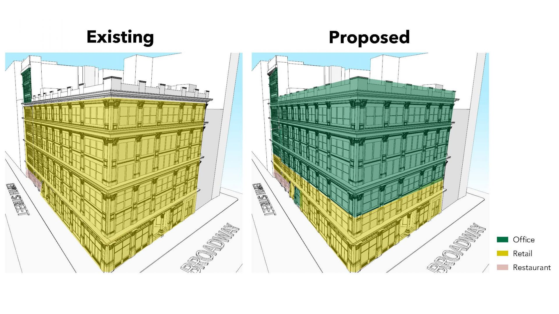Axonometric view showing retail spaces being converted to office space at 888 Broadway