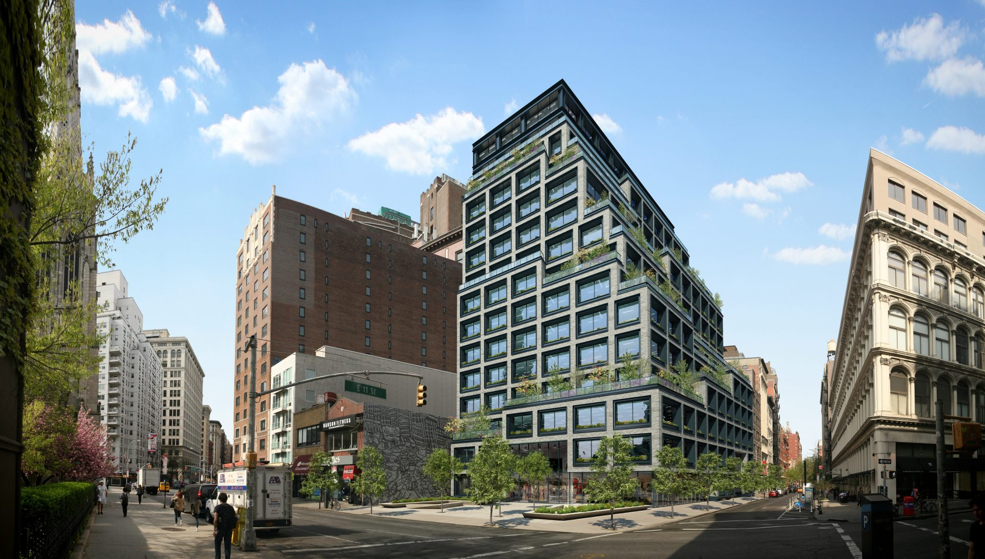 Exterior daytime rendering of the proposed Silicon Alley office building
