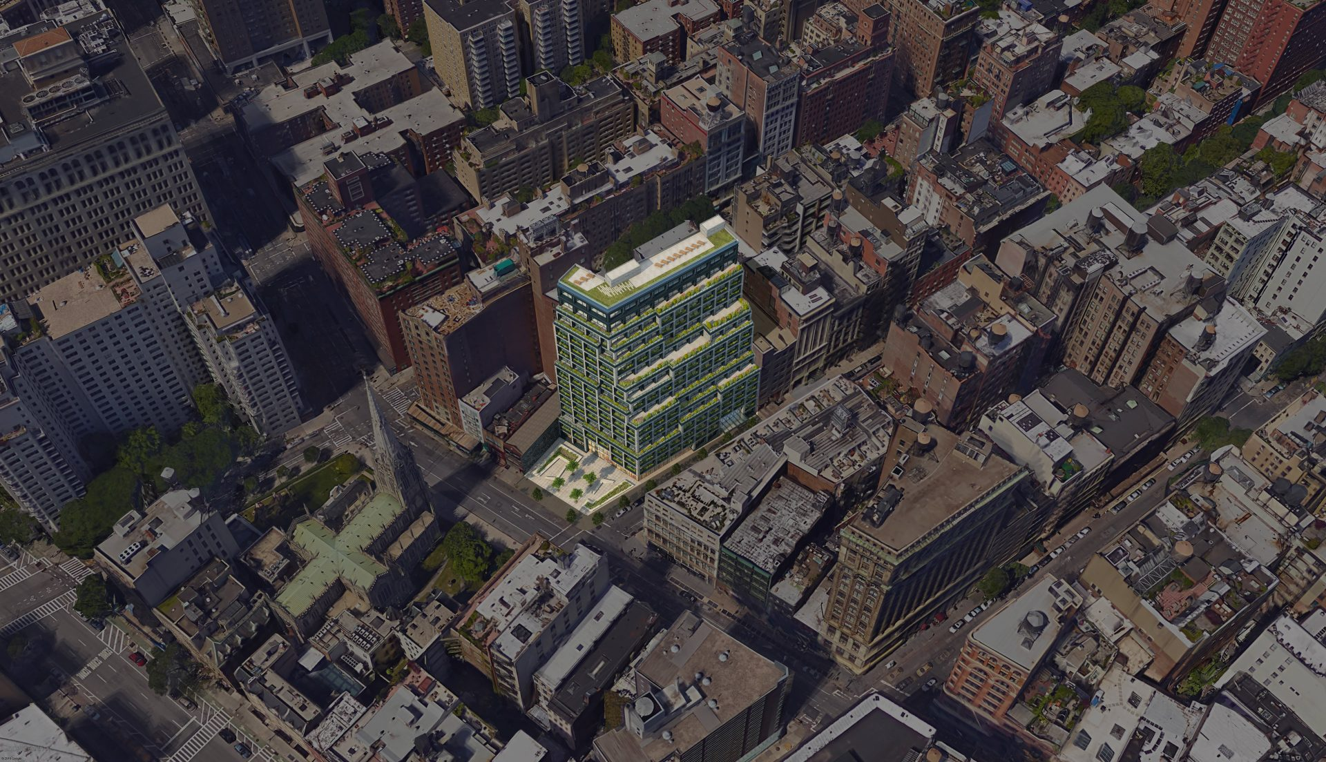 Aerial view with rendering of the proposed new development for the Silicon Alley office building
