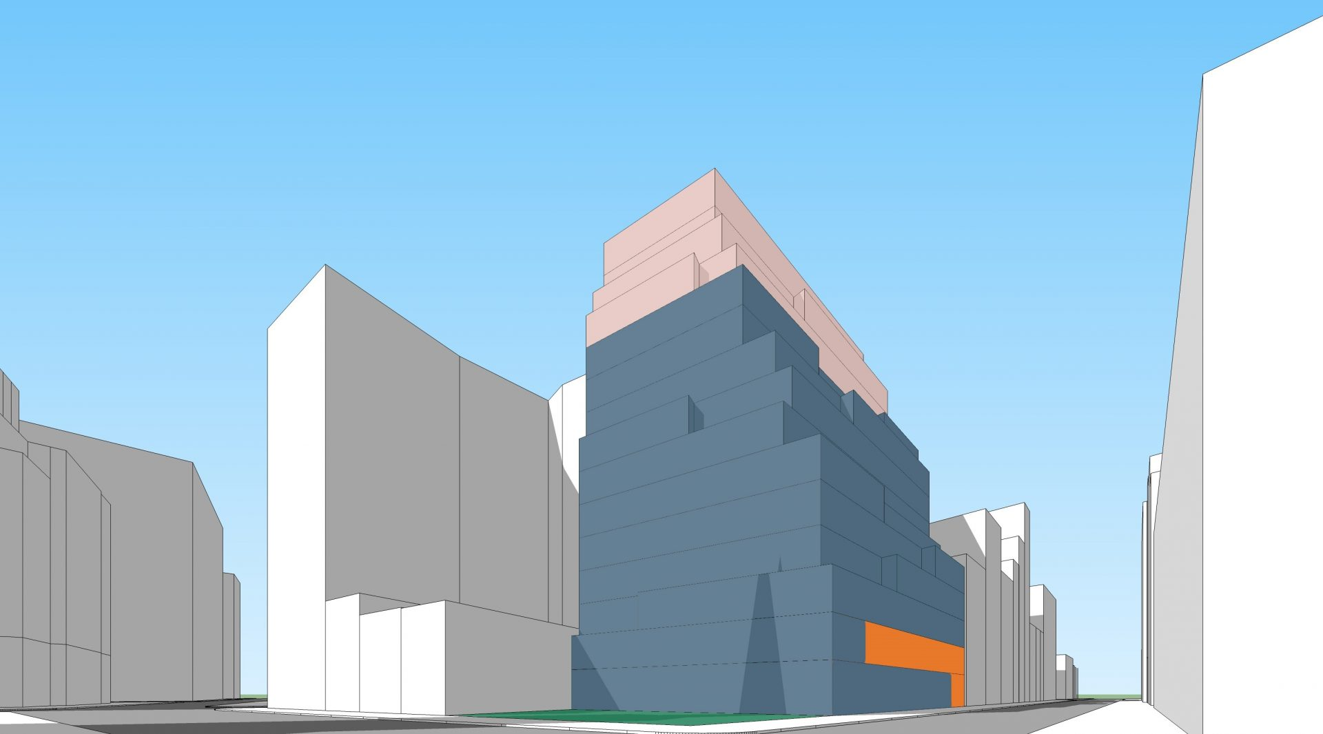 Diagram illustrating the proposed development for the Silicon Alley office building