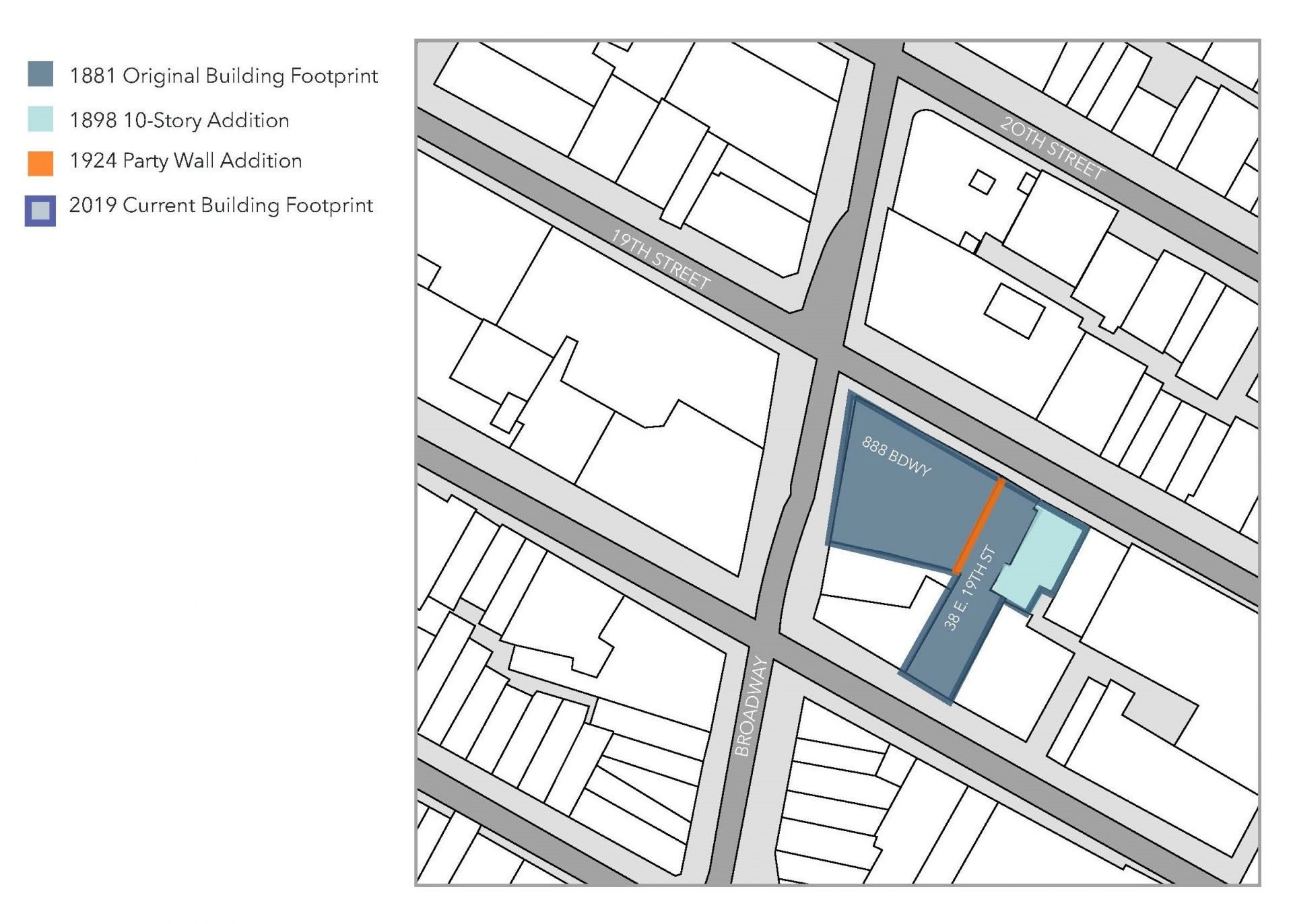 Site plan showing the multiple buildings comprising of 888 Broadway and its resulting floorplan