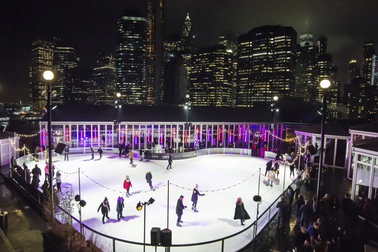 Winterland ice skating rink at the Rooftop at Pier 17
