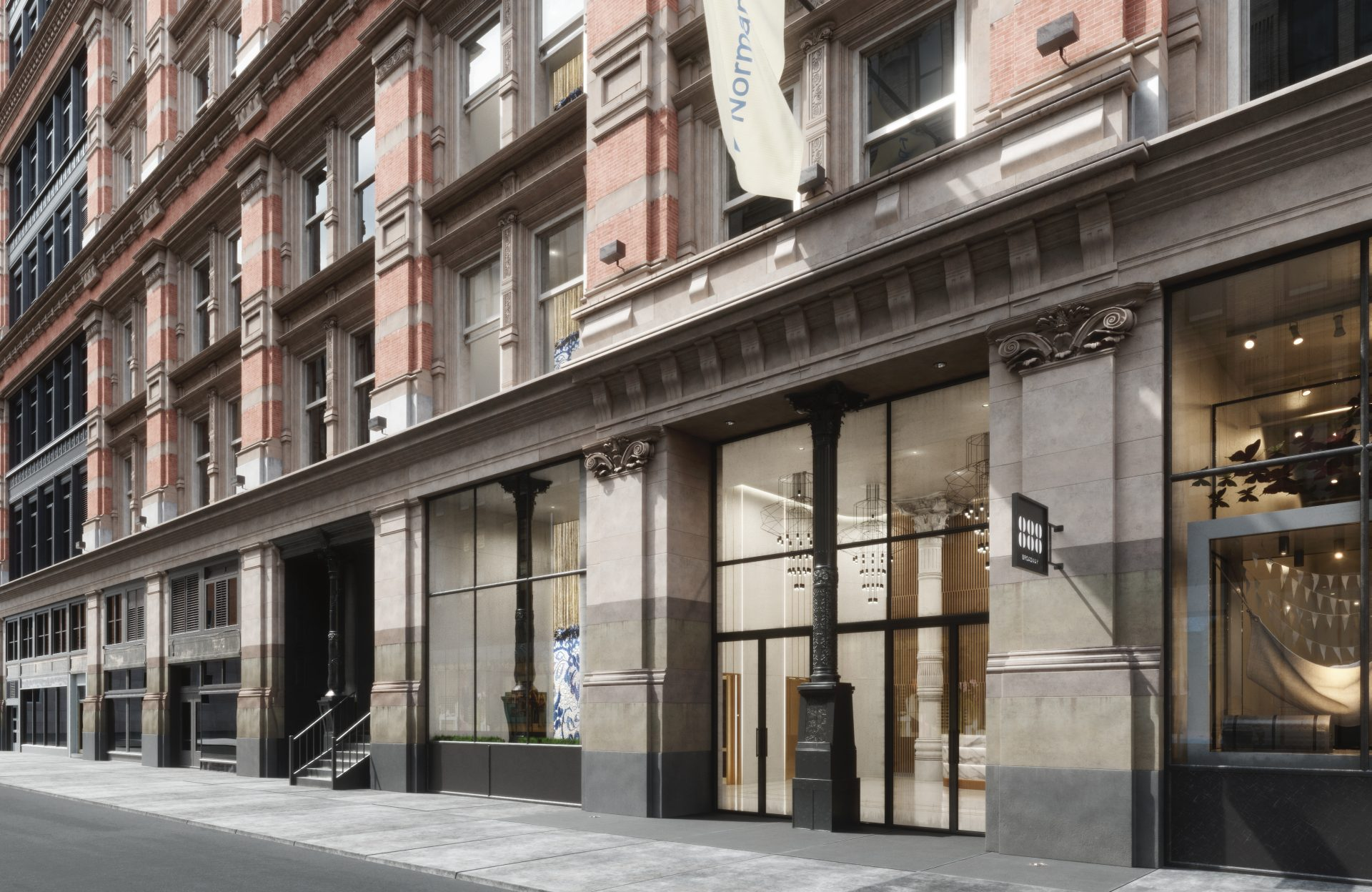 Rendering of the new street frontage at 888 Broadway