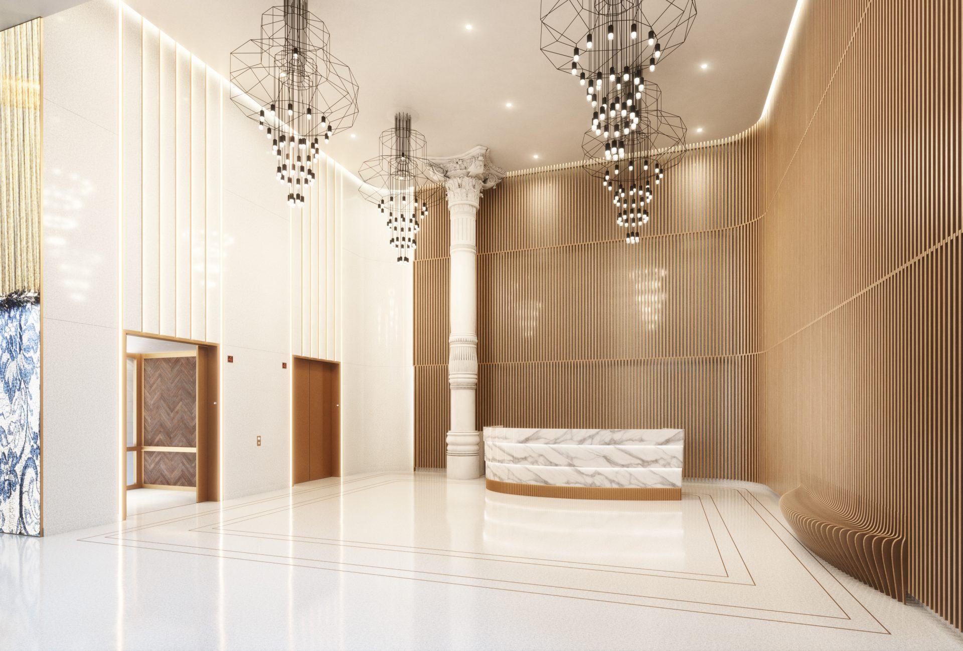 Rendering of the new lobby from the building renovation of 888 Broadway