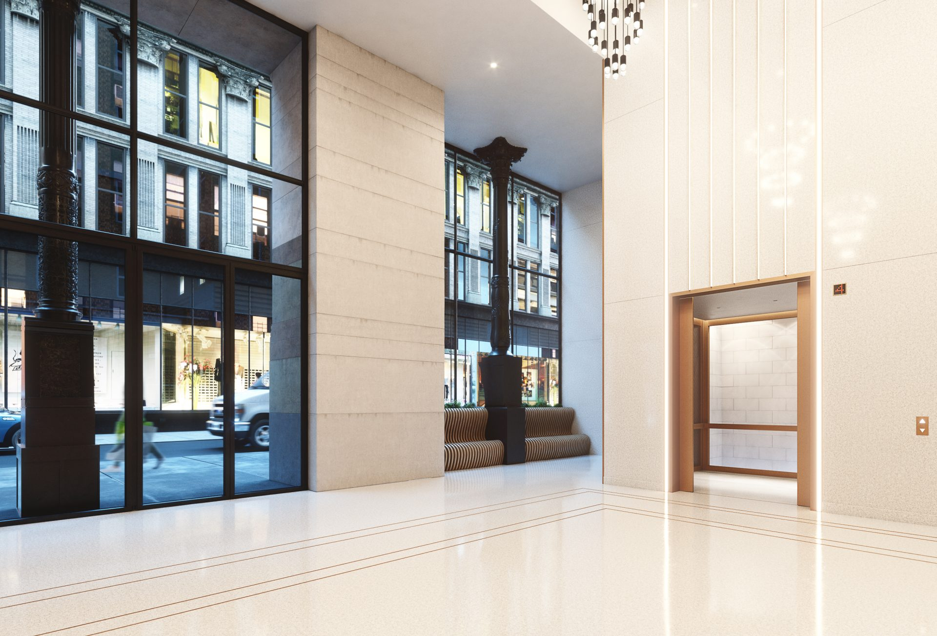 Lobby rendering looking out toward street at 888 Broadway