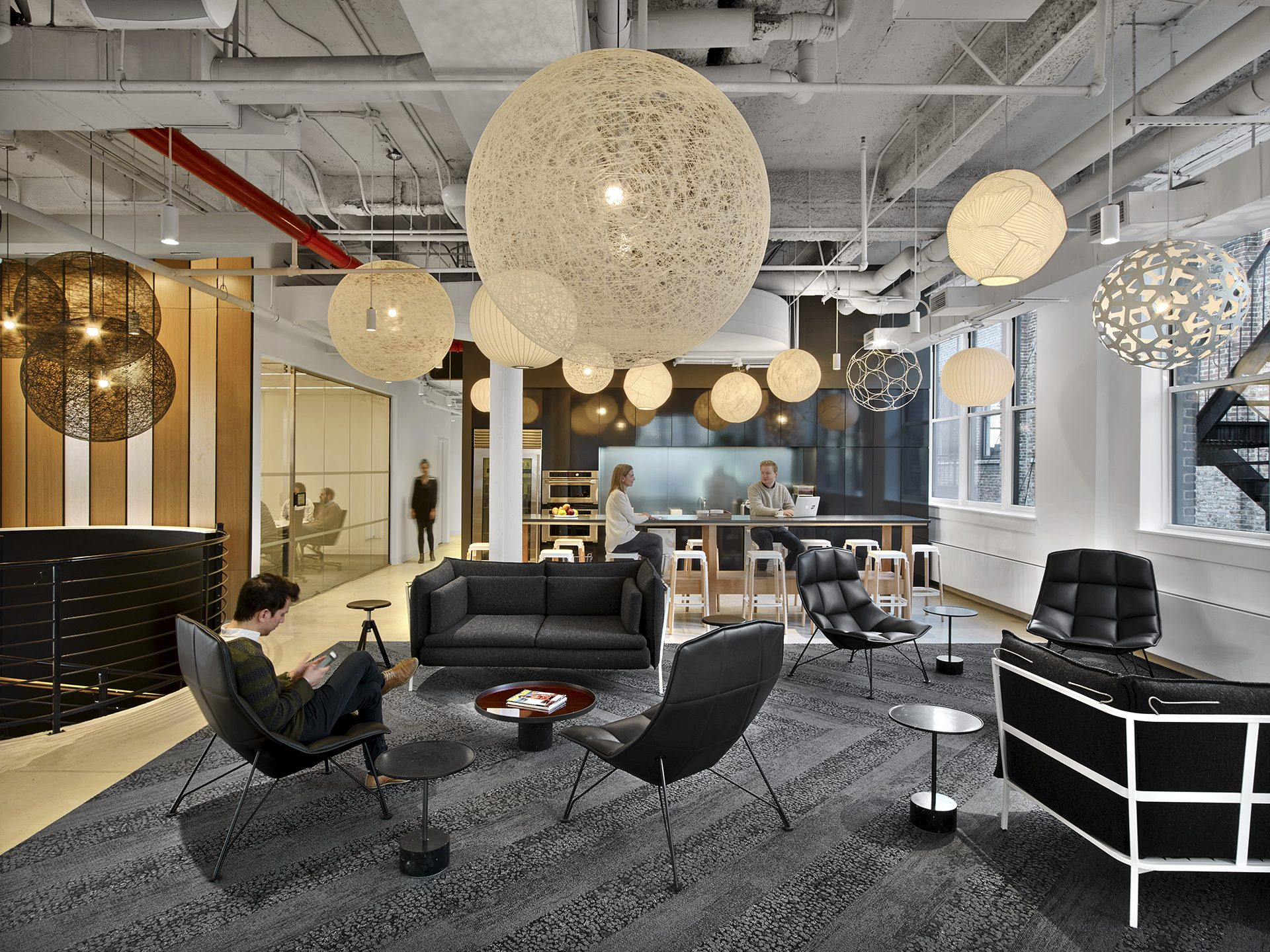 Large employee and client cafe space at the new Peloton headquarters