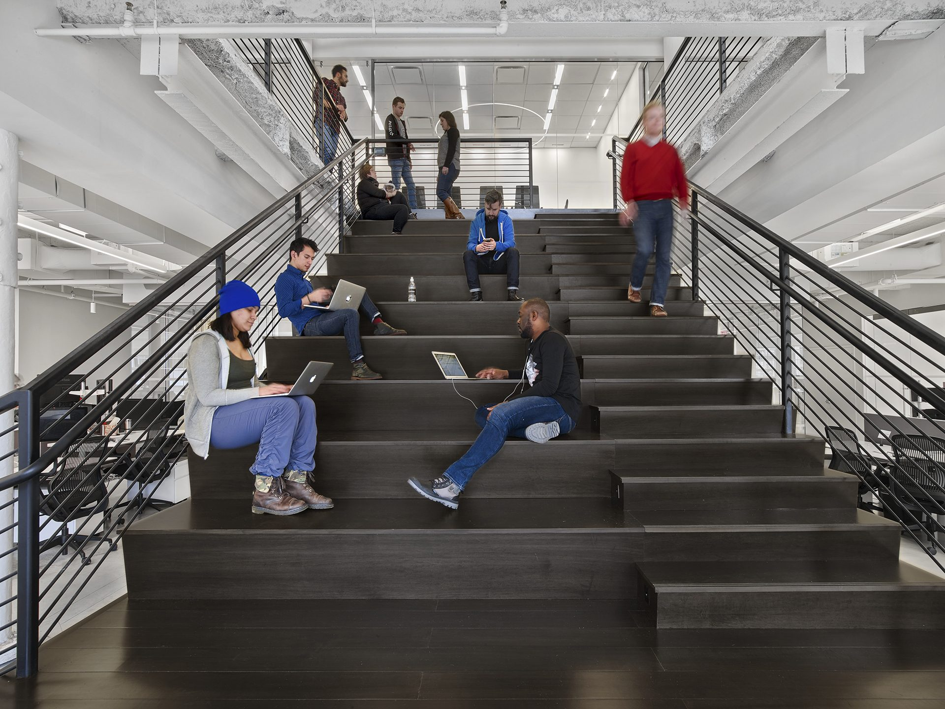 Interconnecting stair doubles as an all-hands space at Peloton's first headquarters