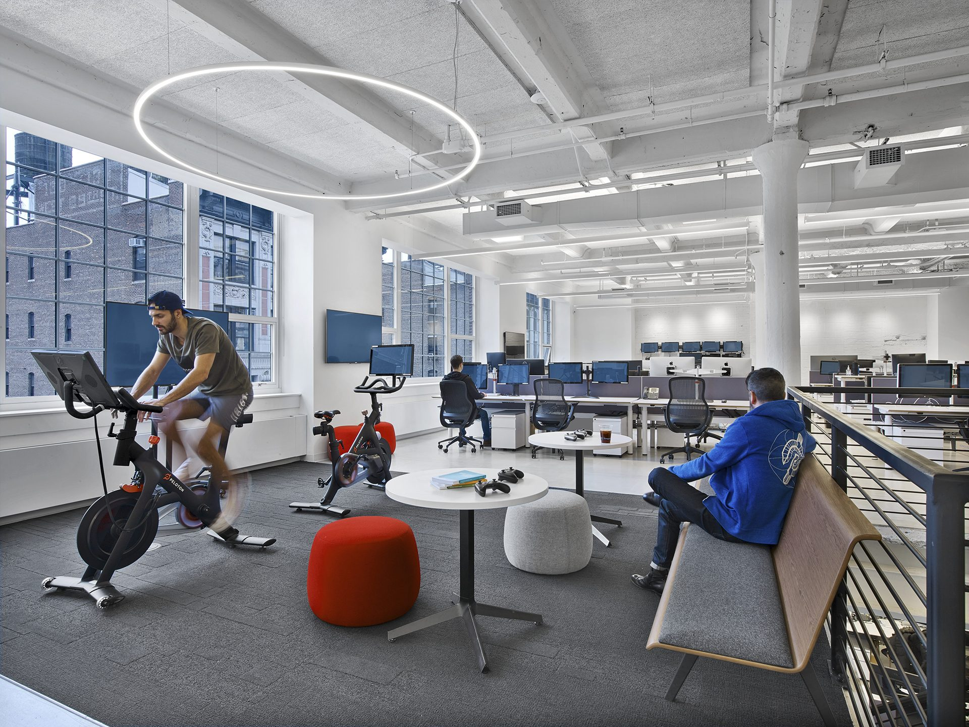Open collaboration and meeting spaces with Peloton's headquarters