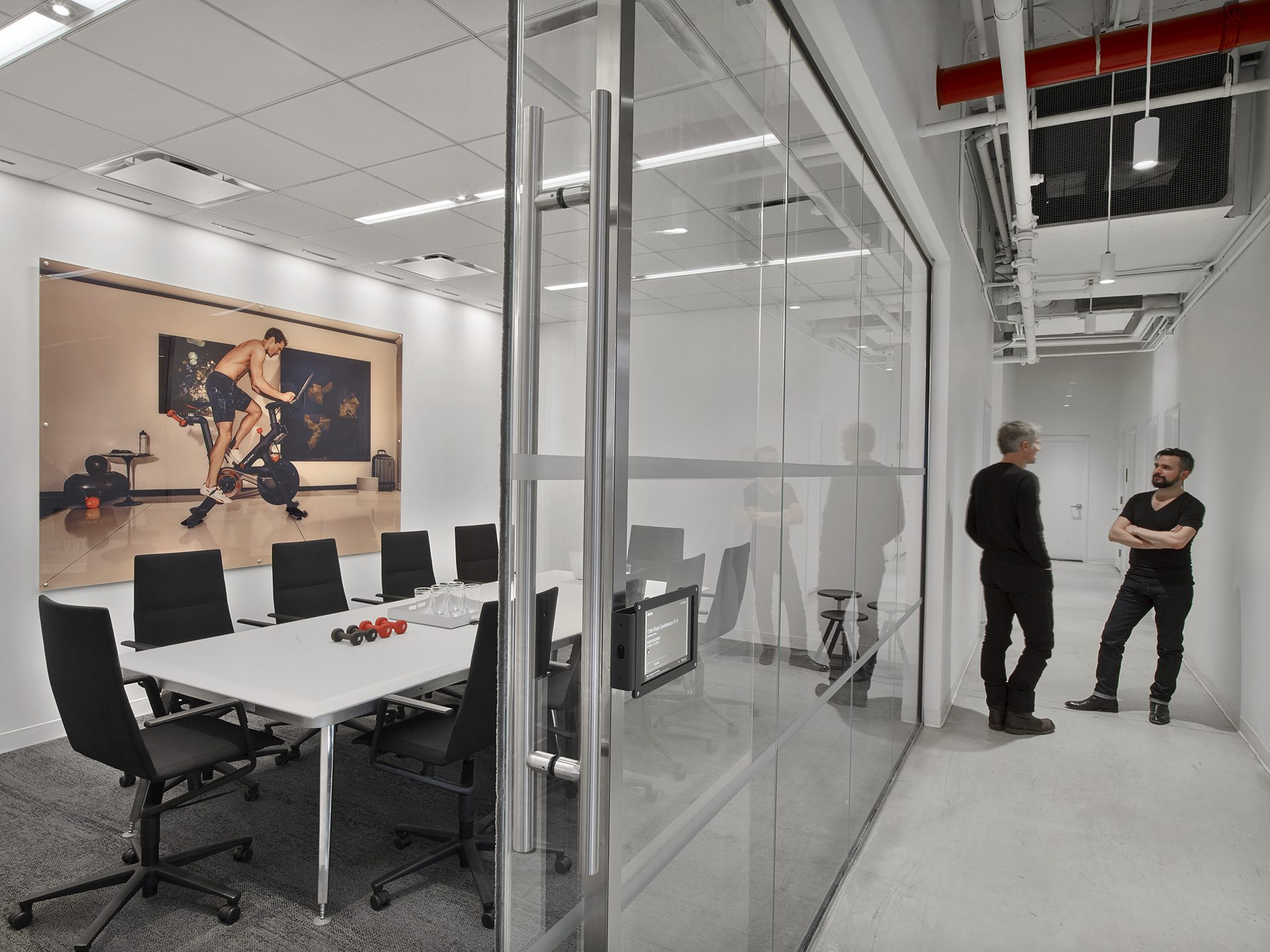 Enclosed meeting room at the new Peloton Headquarters