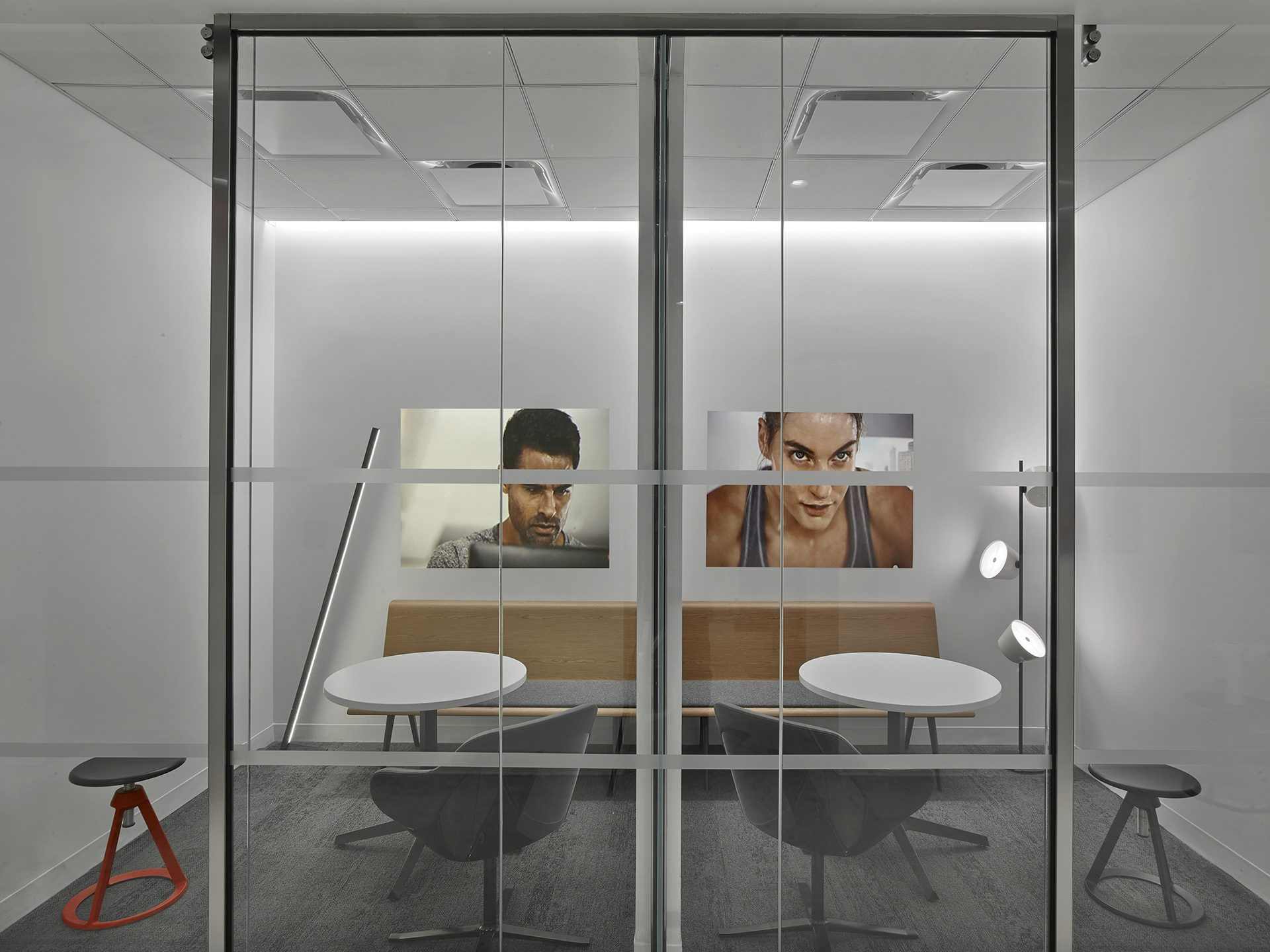 Small phone rooms for private calls at the new Peloton Headquarters