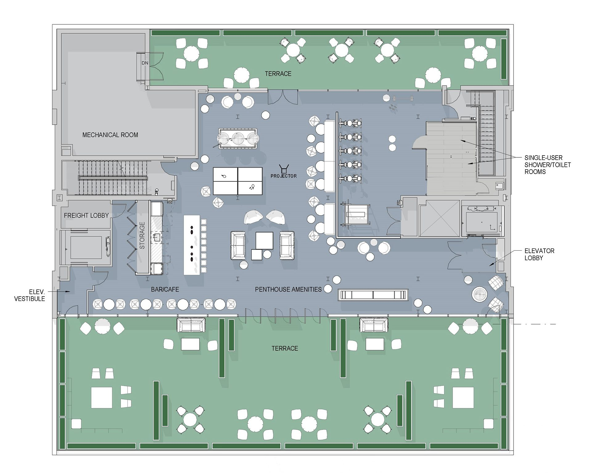Floorplan illustrating the amenities within the new Peloton Headquarters