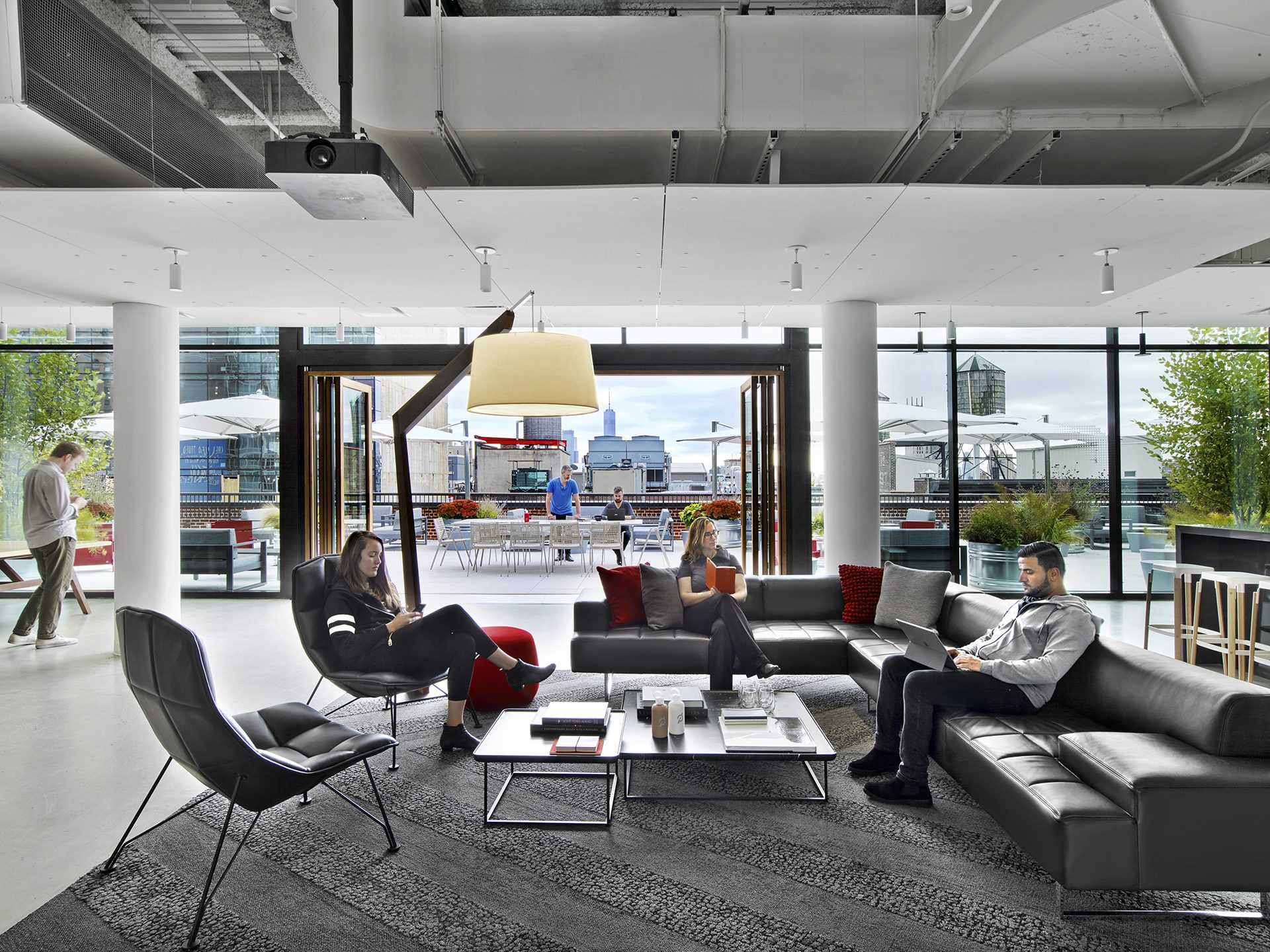 Penthouse lounges at the new Peloton headquarters