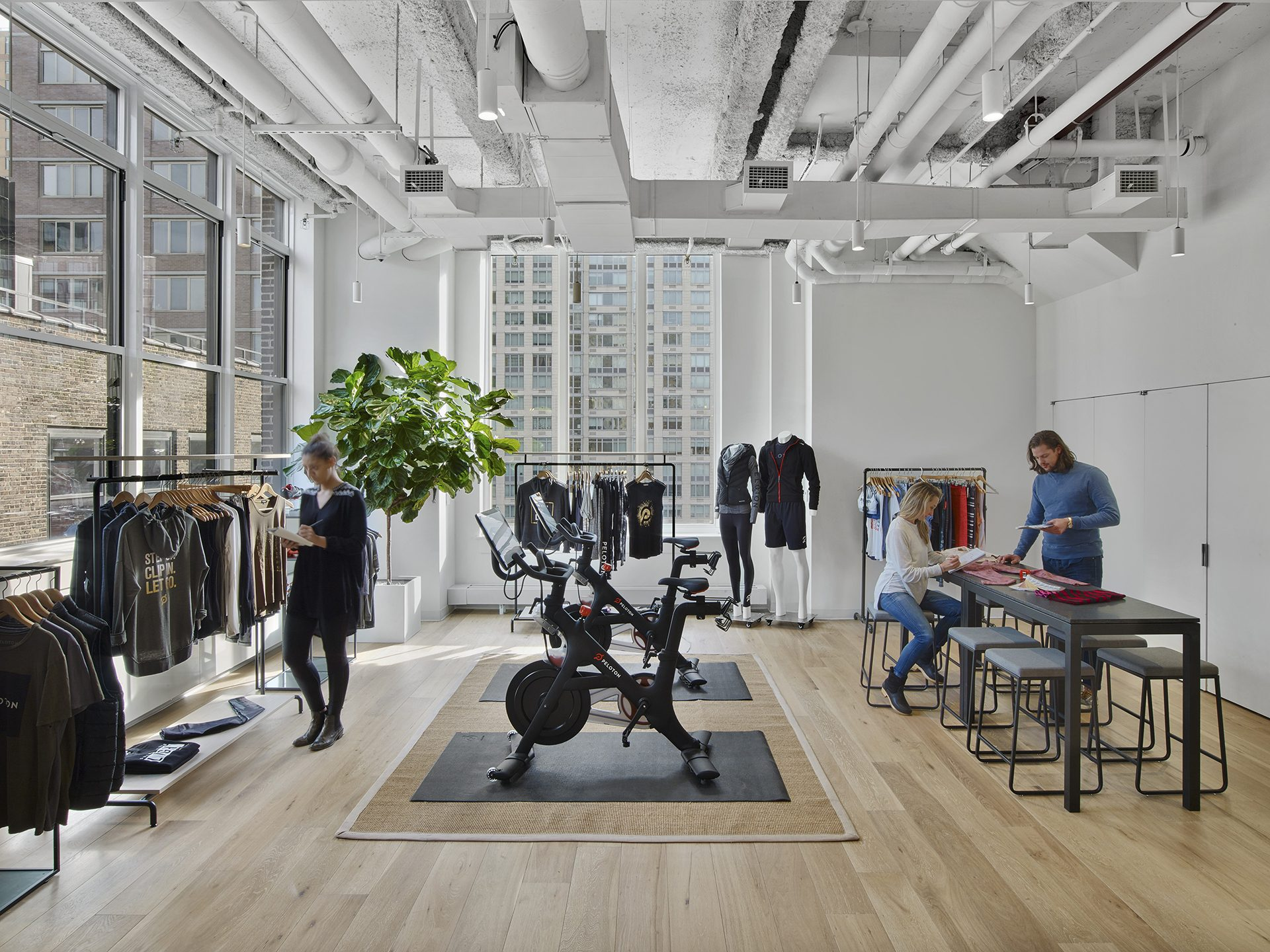 A department destination designed as a showroom for Peloton