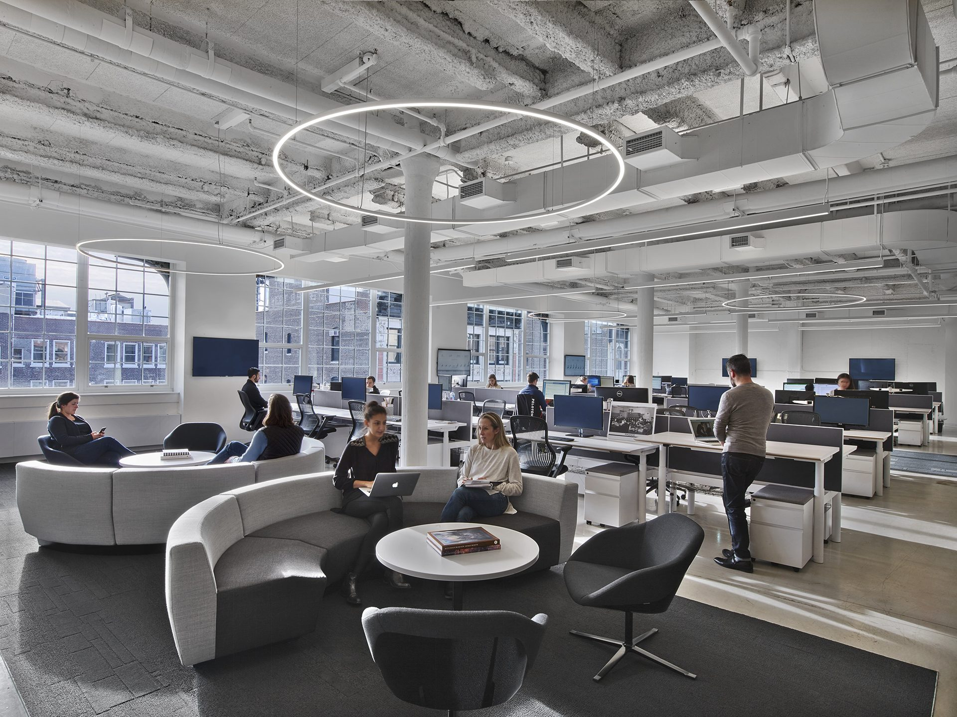 Open collaboration spaces within Peloton's new headquarters