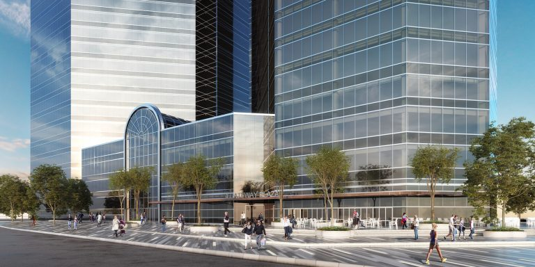 Rendering of the proposed exterior of 4 Gateway Center as part of the building renovation study