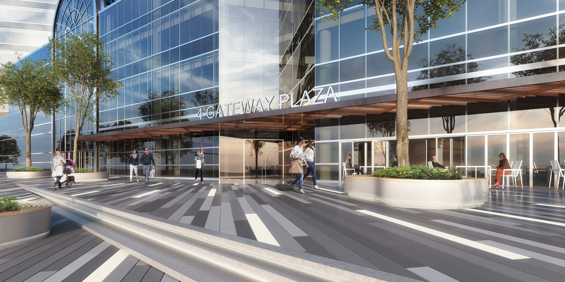 Rendering of proposed street plaza at 4 Gateway Center