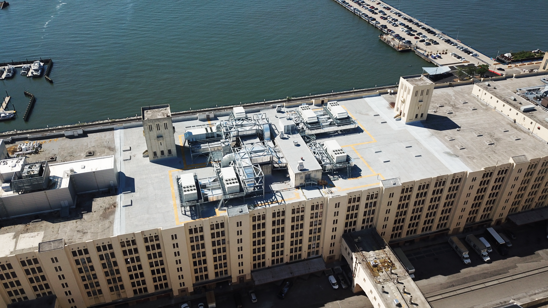 Roof mechanical equipment atop the Brooklyn Army Terminal Building A