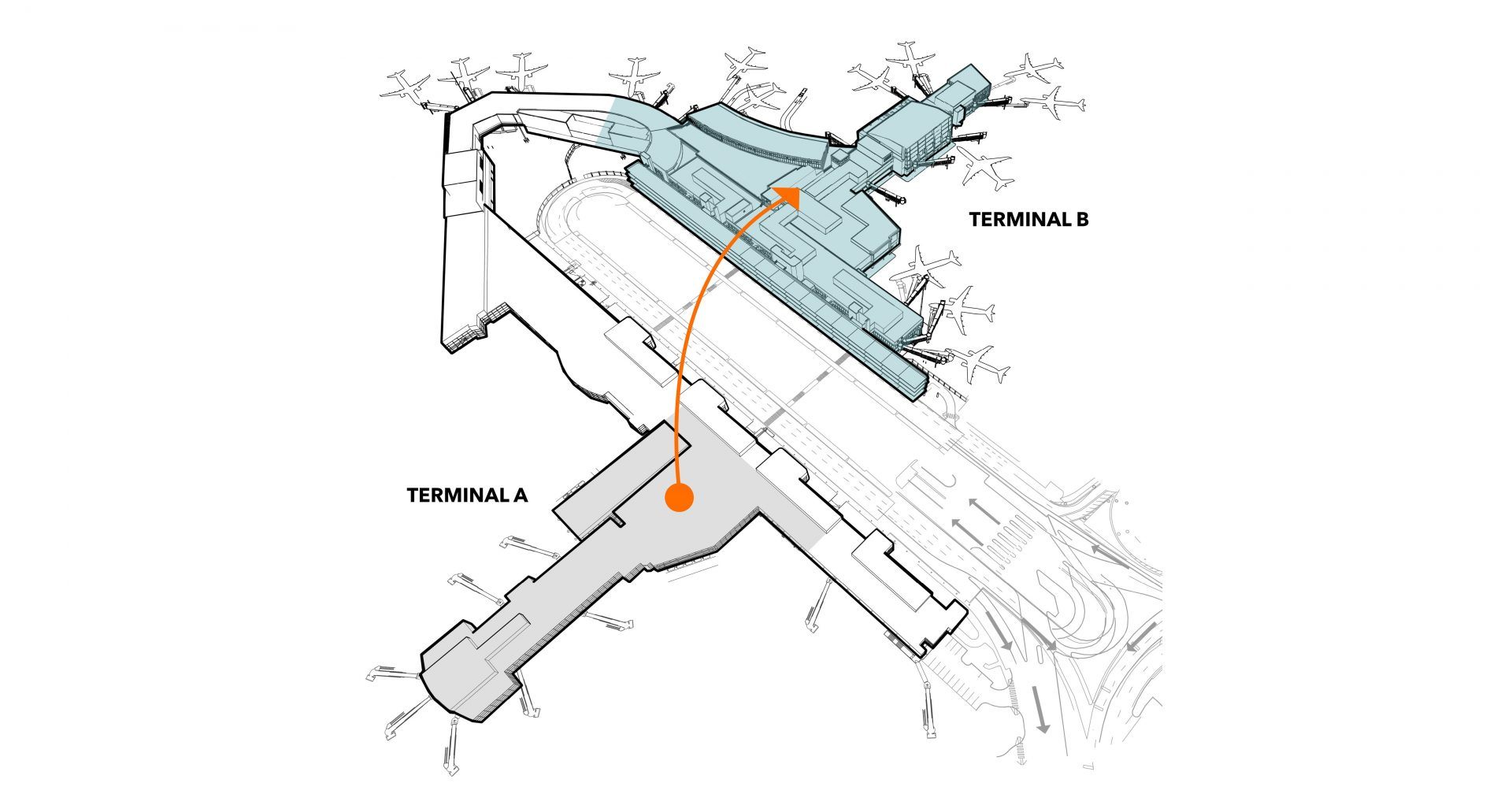 Diagram illustrating move of US Airways operations to American Airlines operations at Logan International Airport