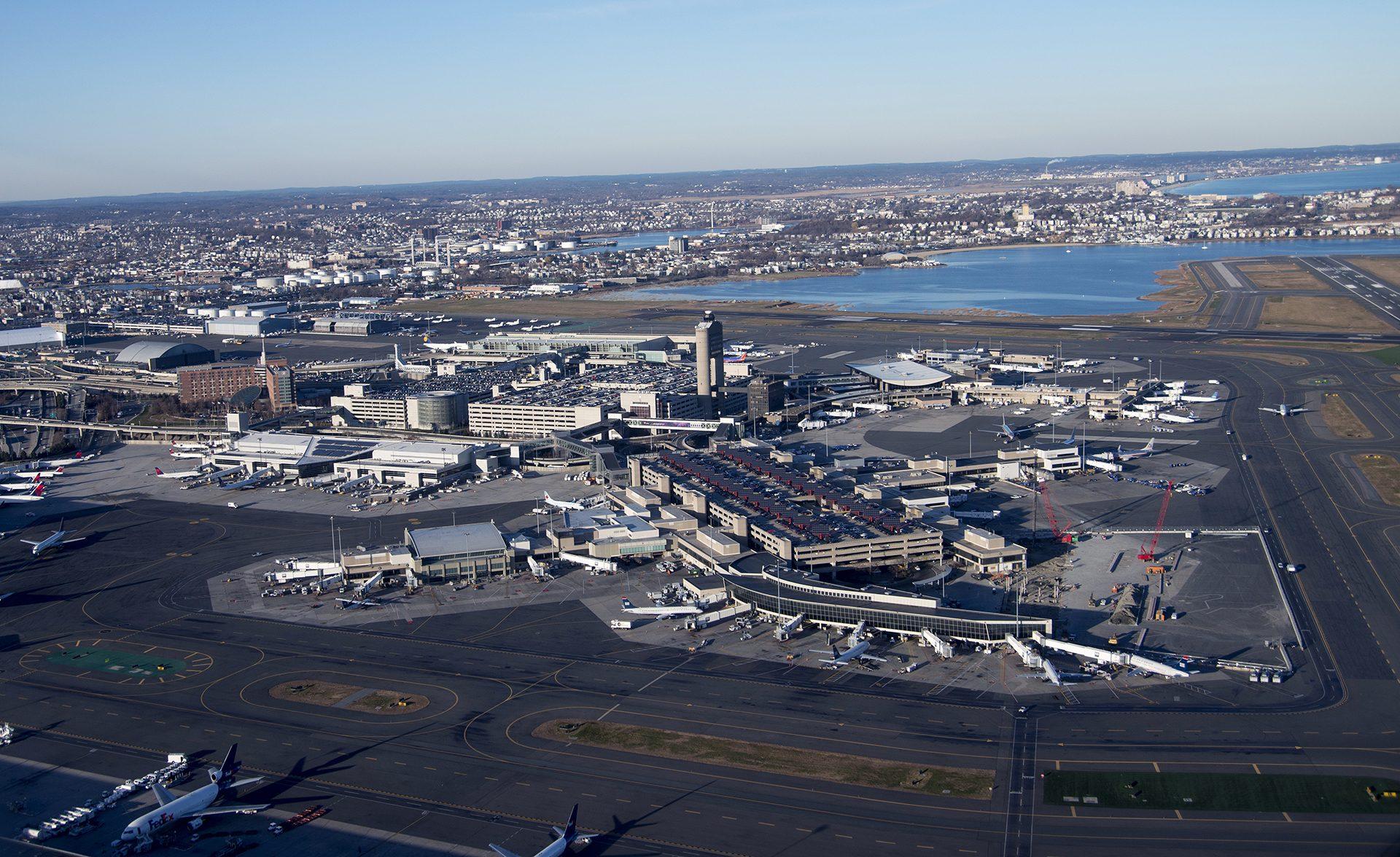 American Airlines at Terminal B of Logan International Airport
