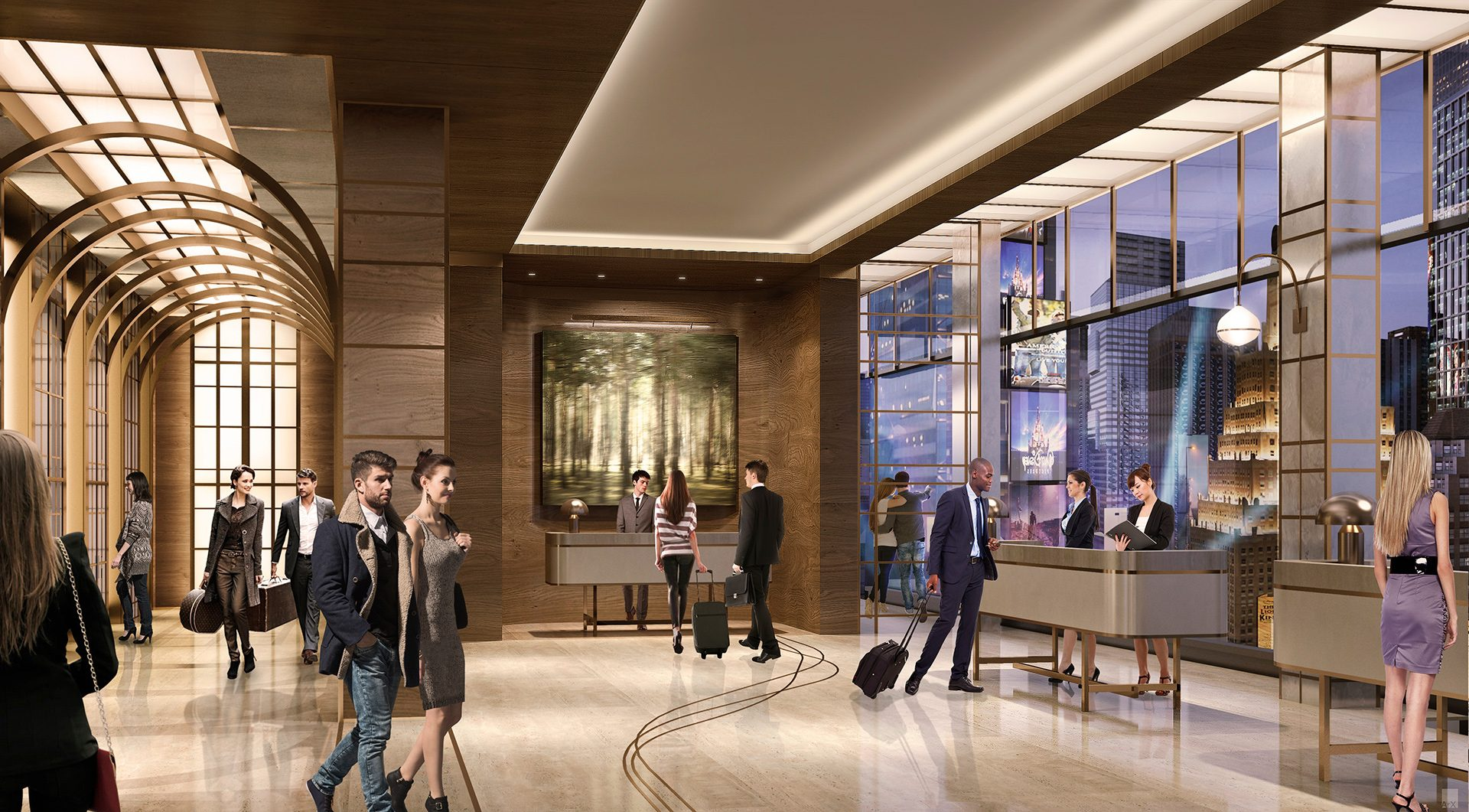 Rendering of the hotel lobby at the new TSX Broadway development