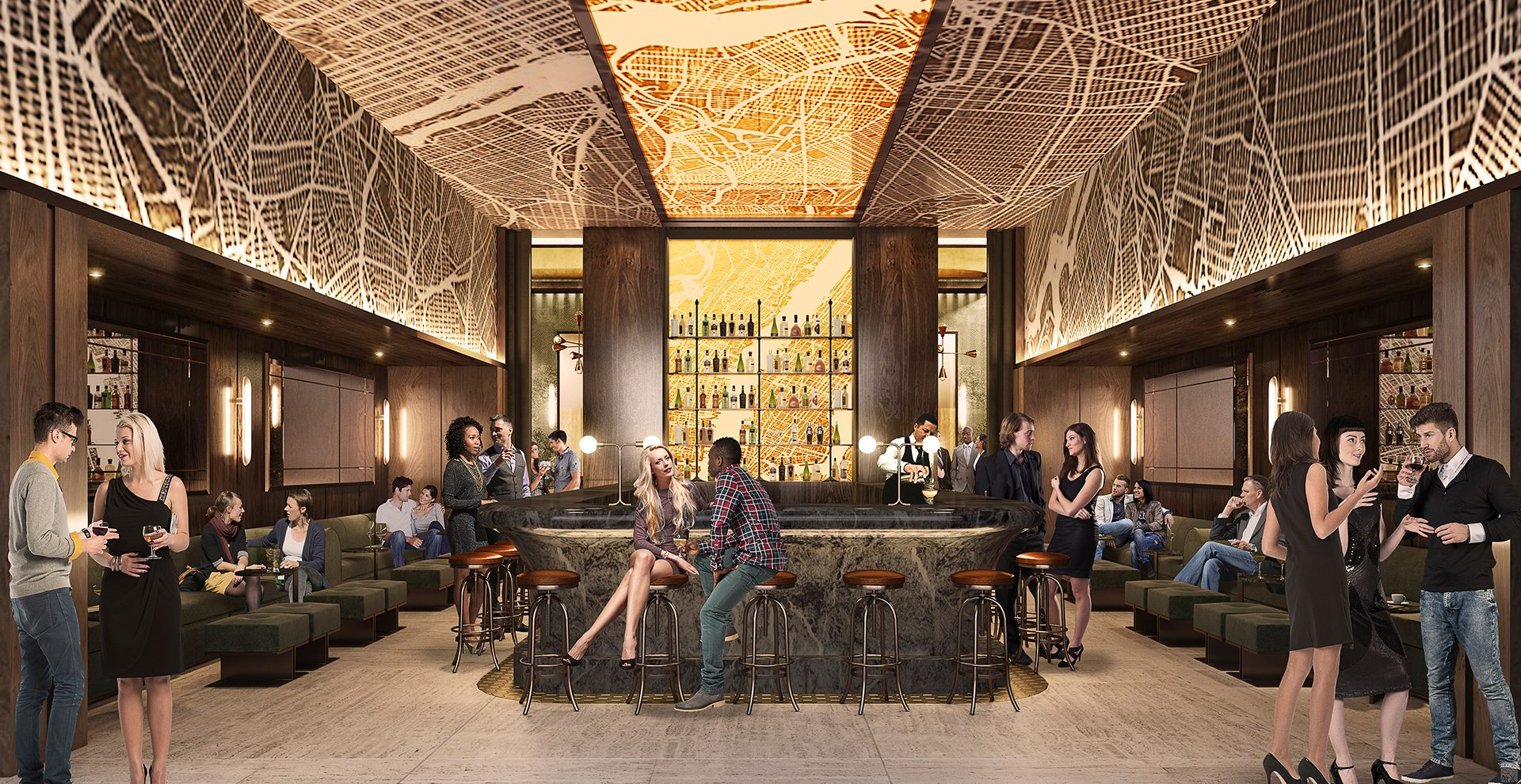 Hotel bar within the new TSX Broadway development