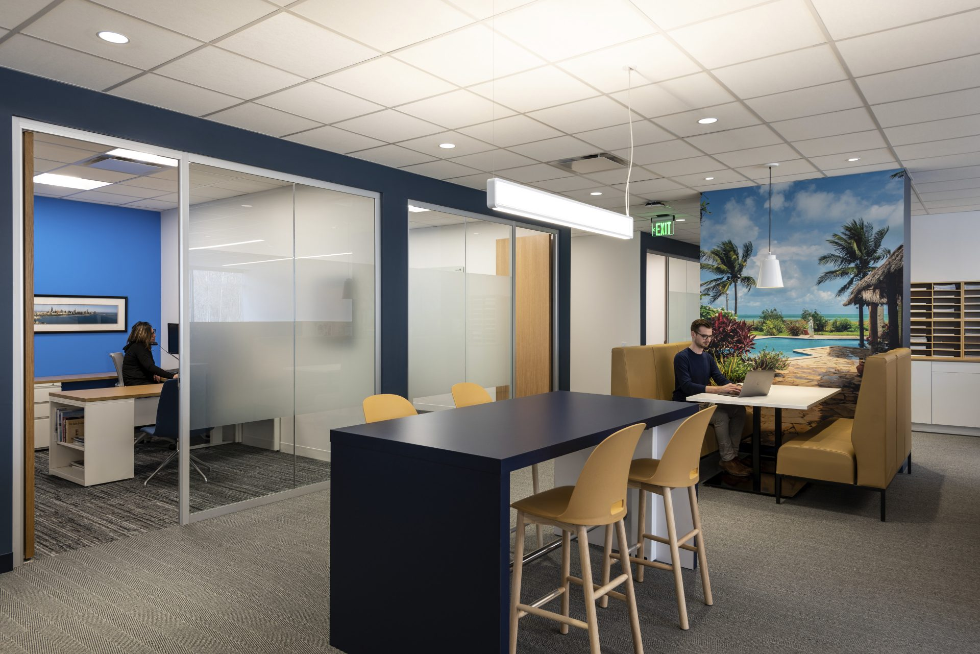 Variety of work settings from private offices to open collaboration at the new Hayward Industries Headquarters