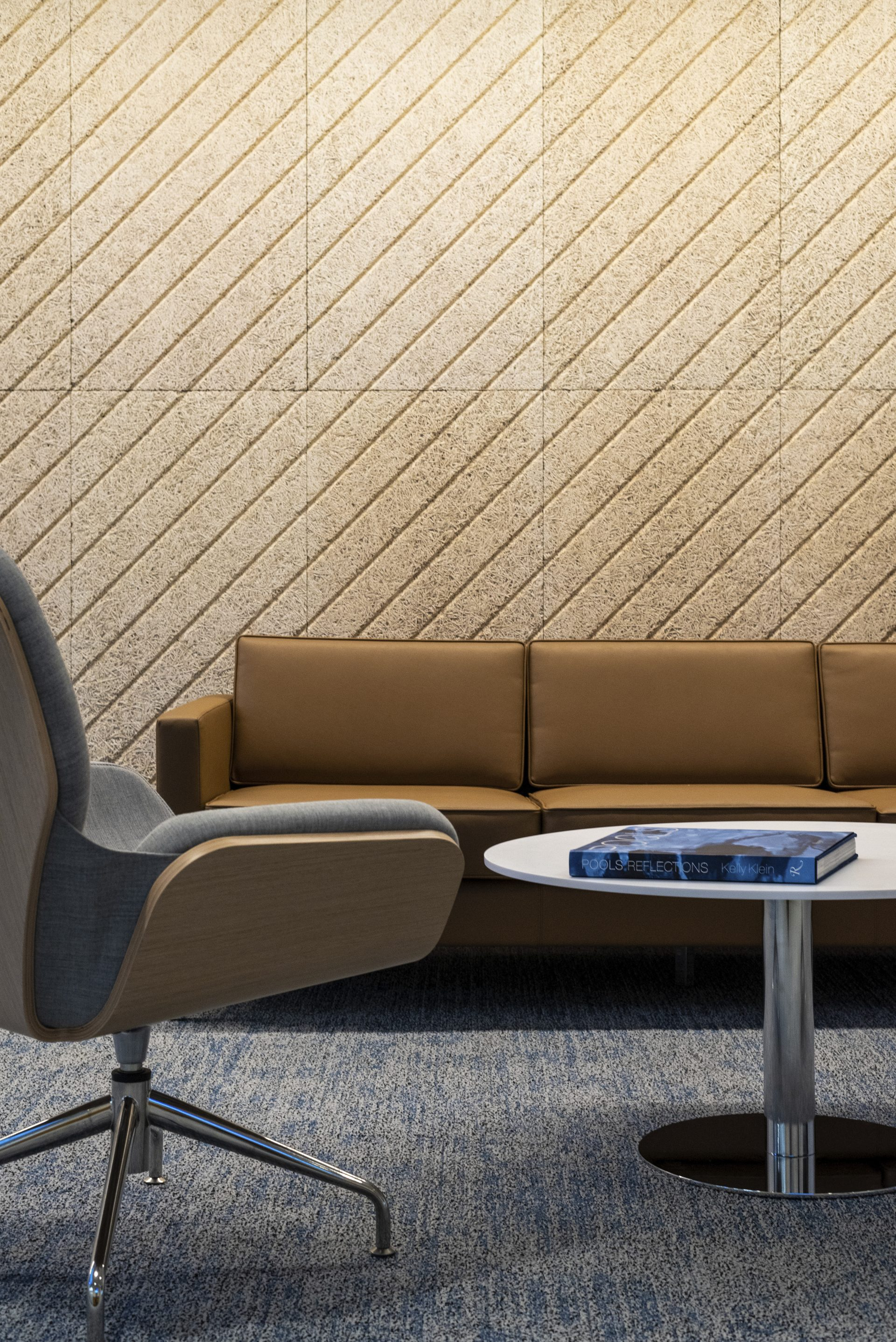 Reception seating area detail at the new Hayward Industries Headquarters