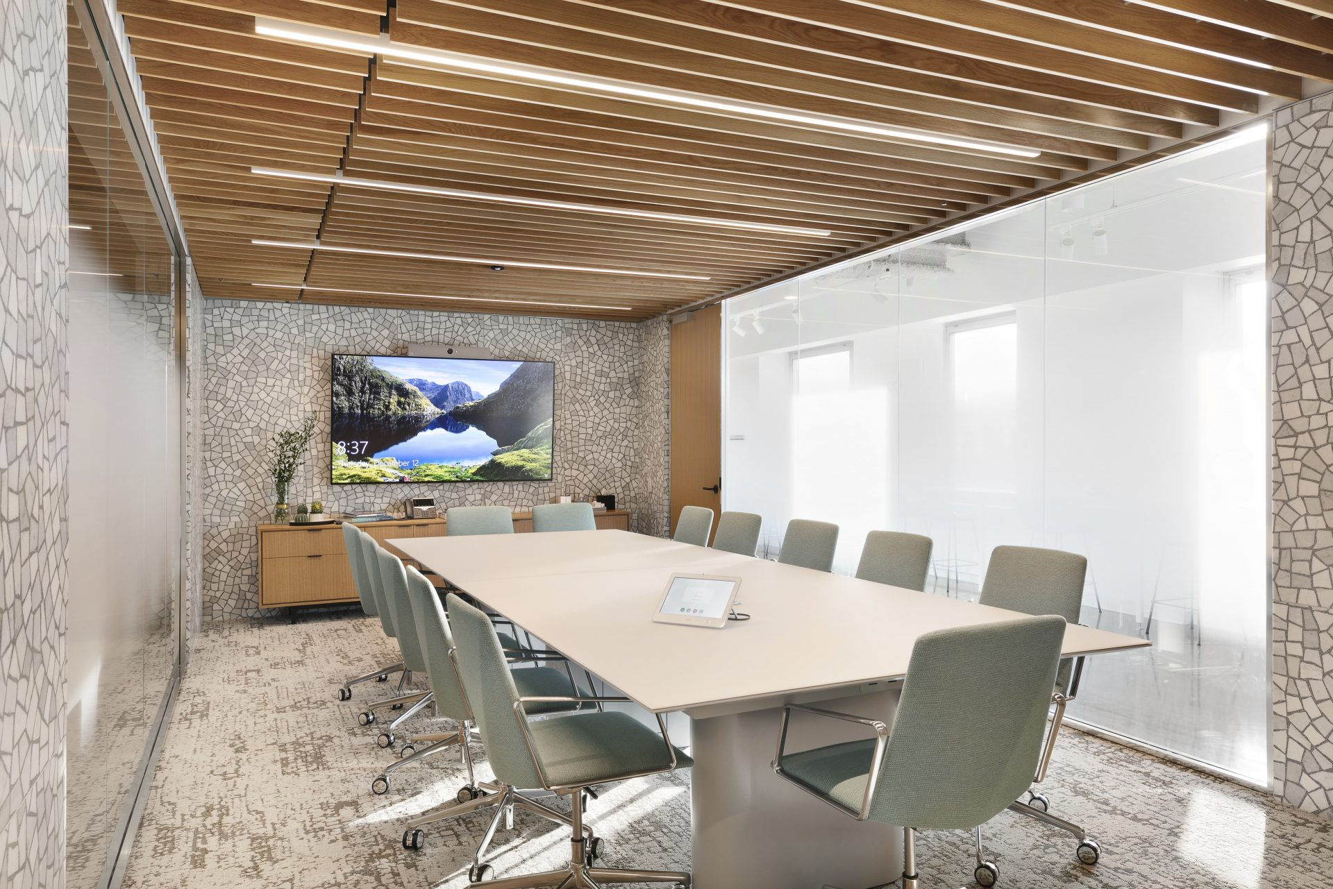 Large conference room at the new Convene space within Brookfield's One New York Plaza