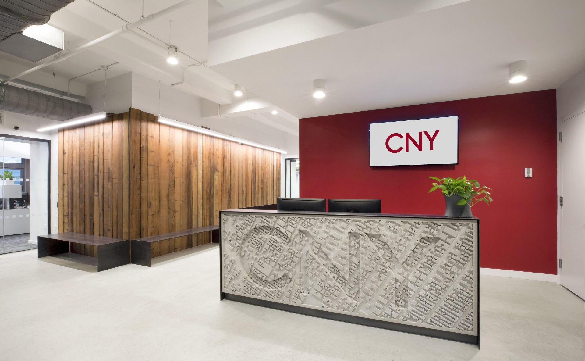 Reception desk and space at the new CNY Group Headquarters