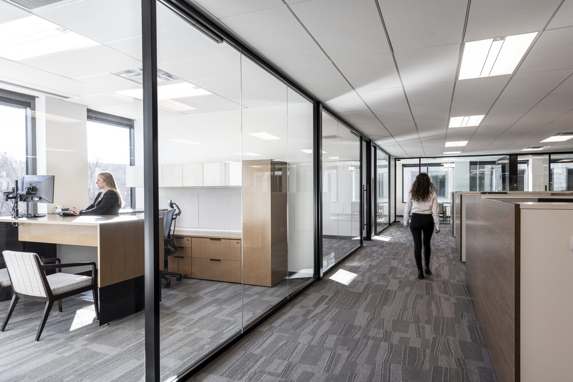 Private offices and open workstations at the new Sax LLP Headquarters