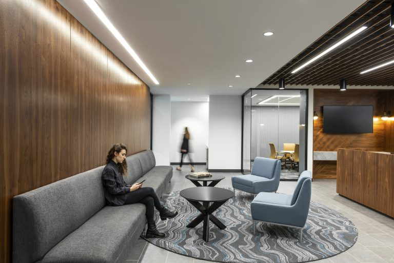 Reception seating at the new Sax LLP Headquarters