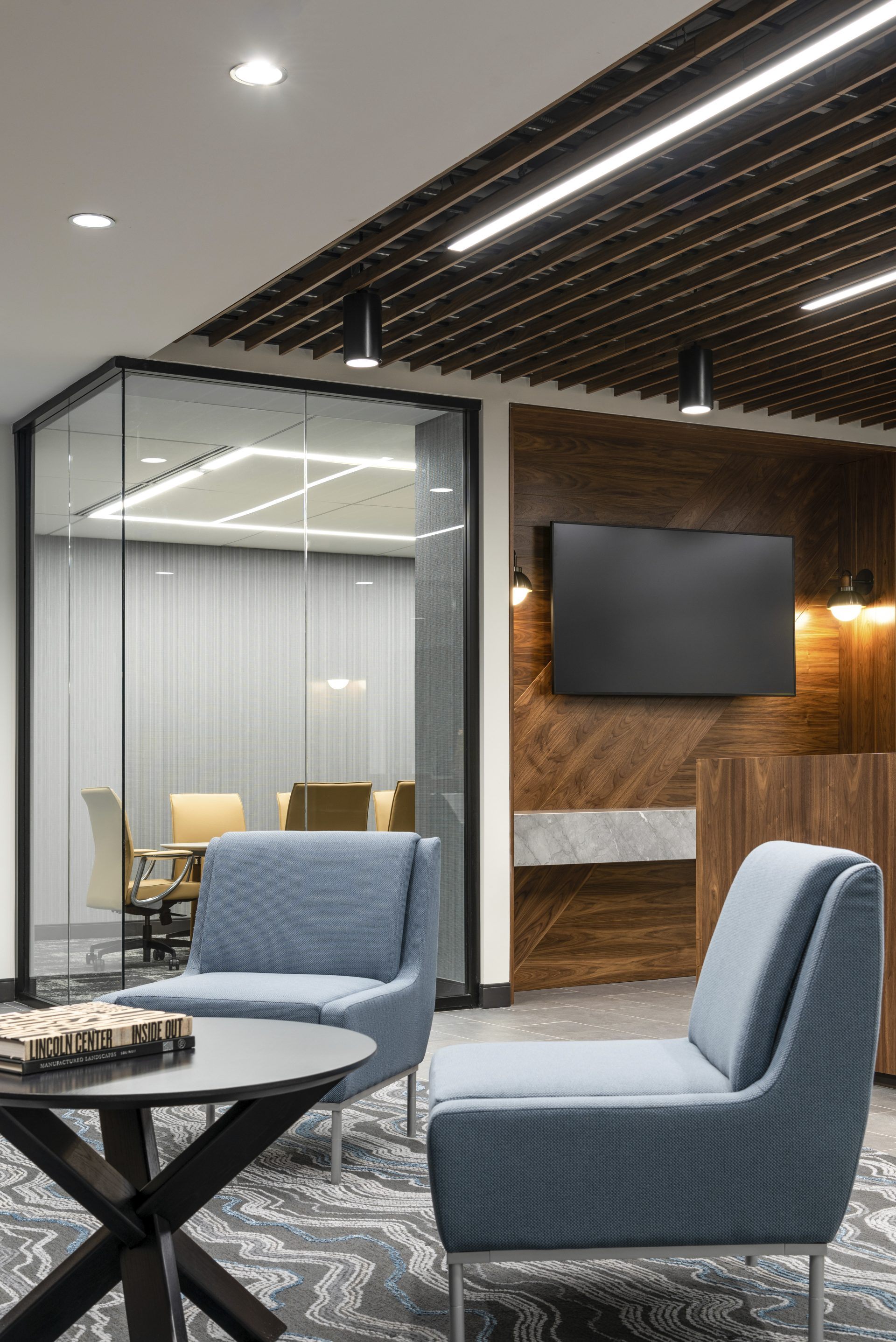 Reception seating area at the new Sax LLP Headquarters