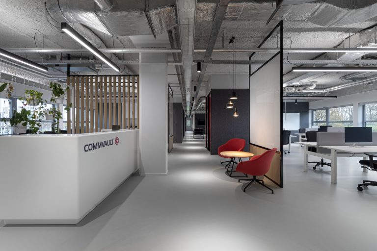 Reception space of the new Commvault offices in Utrecht, the Neterlands