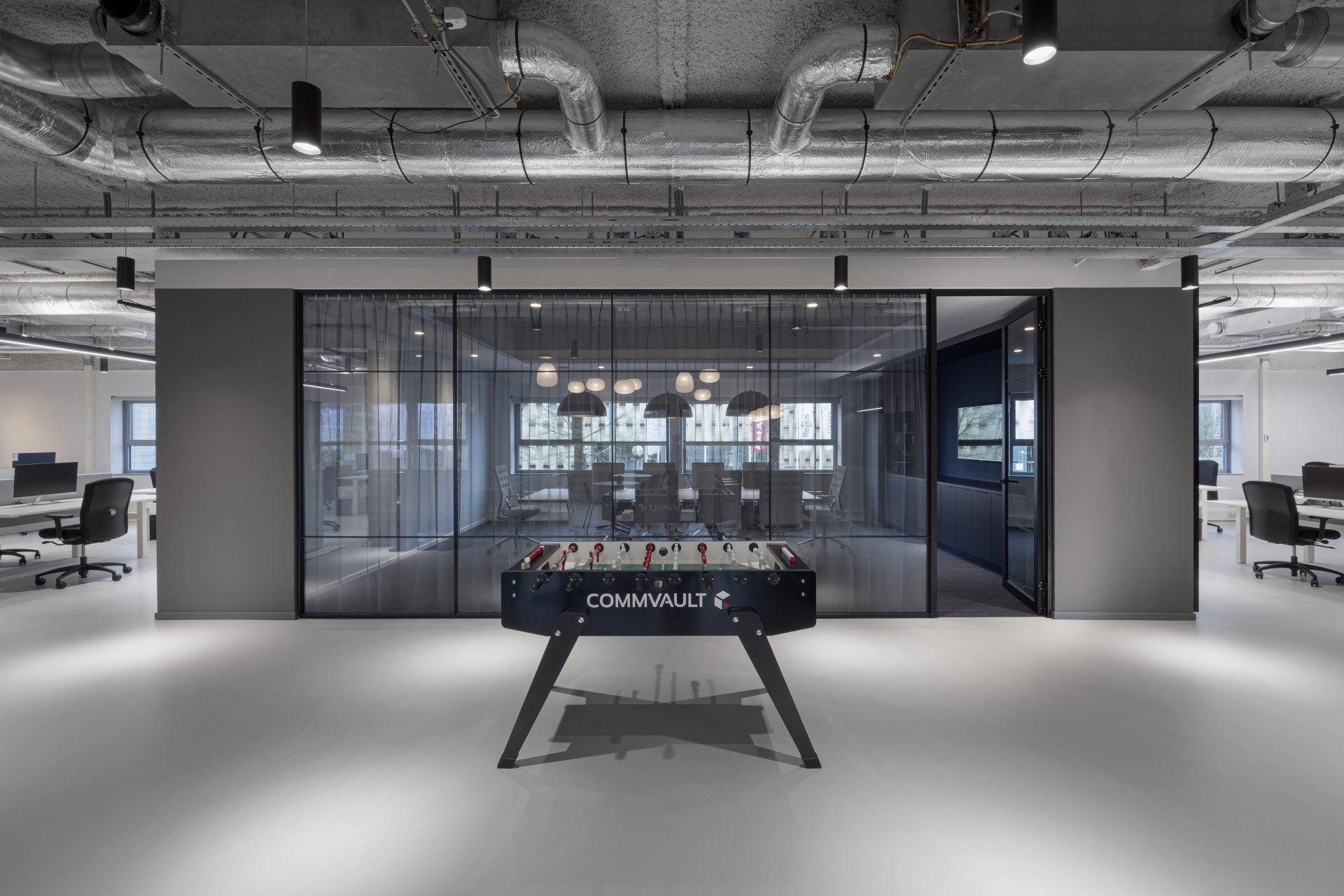 Foosball table at the new Commvault offices in Utrecht, the Neterlands